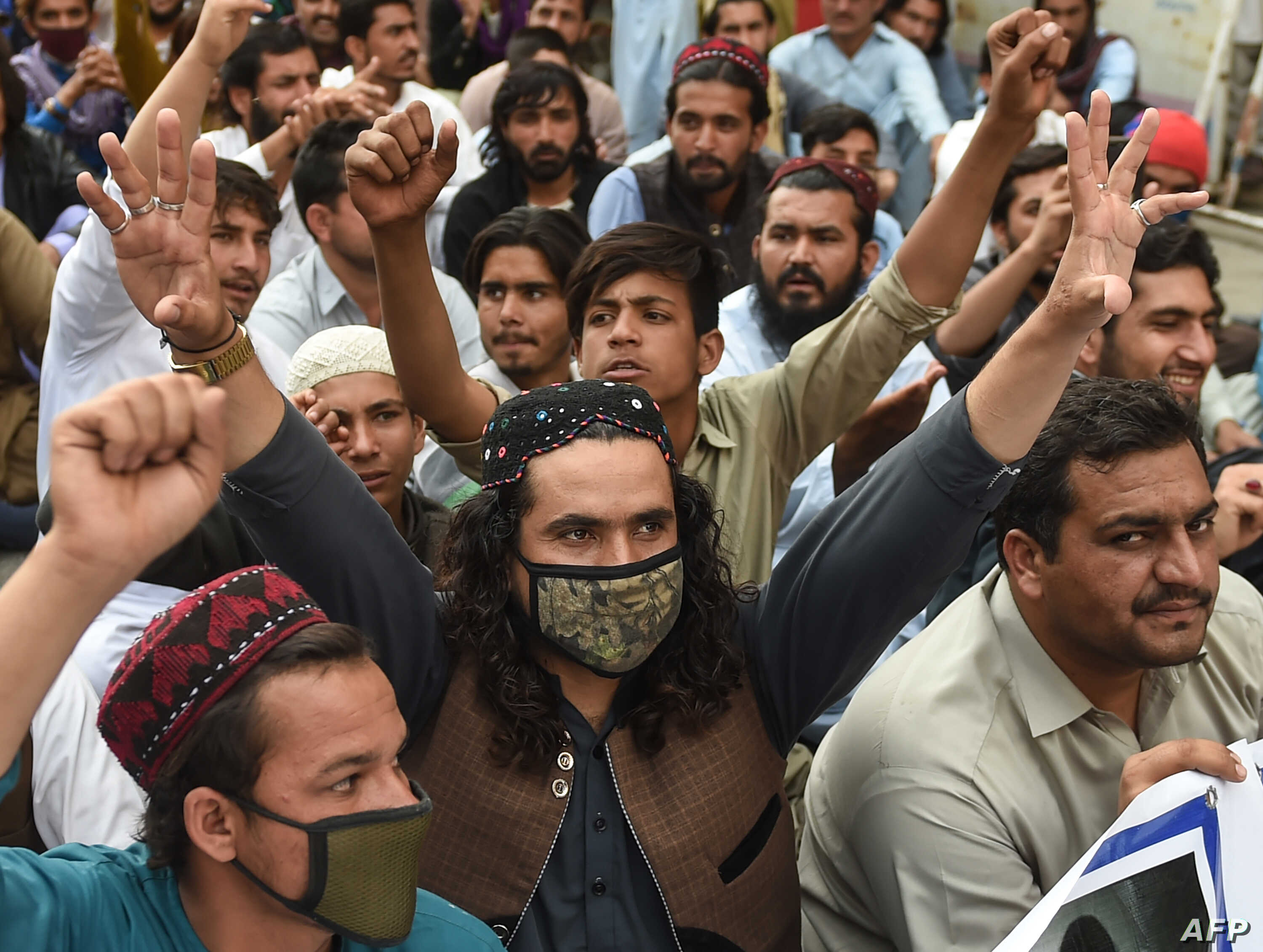 Activists of Pashtun Protection Movement (PTM) protest against the arrest of their activists and leaders, in Karachi on Feb. 10, 2019.