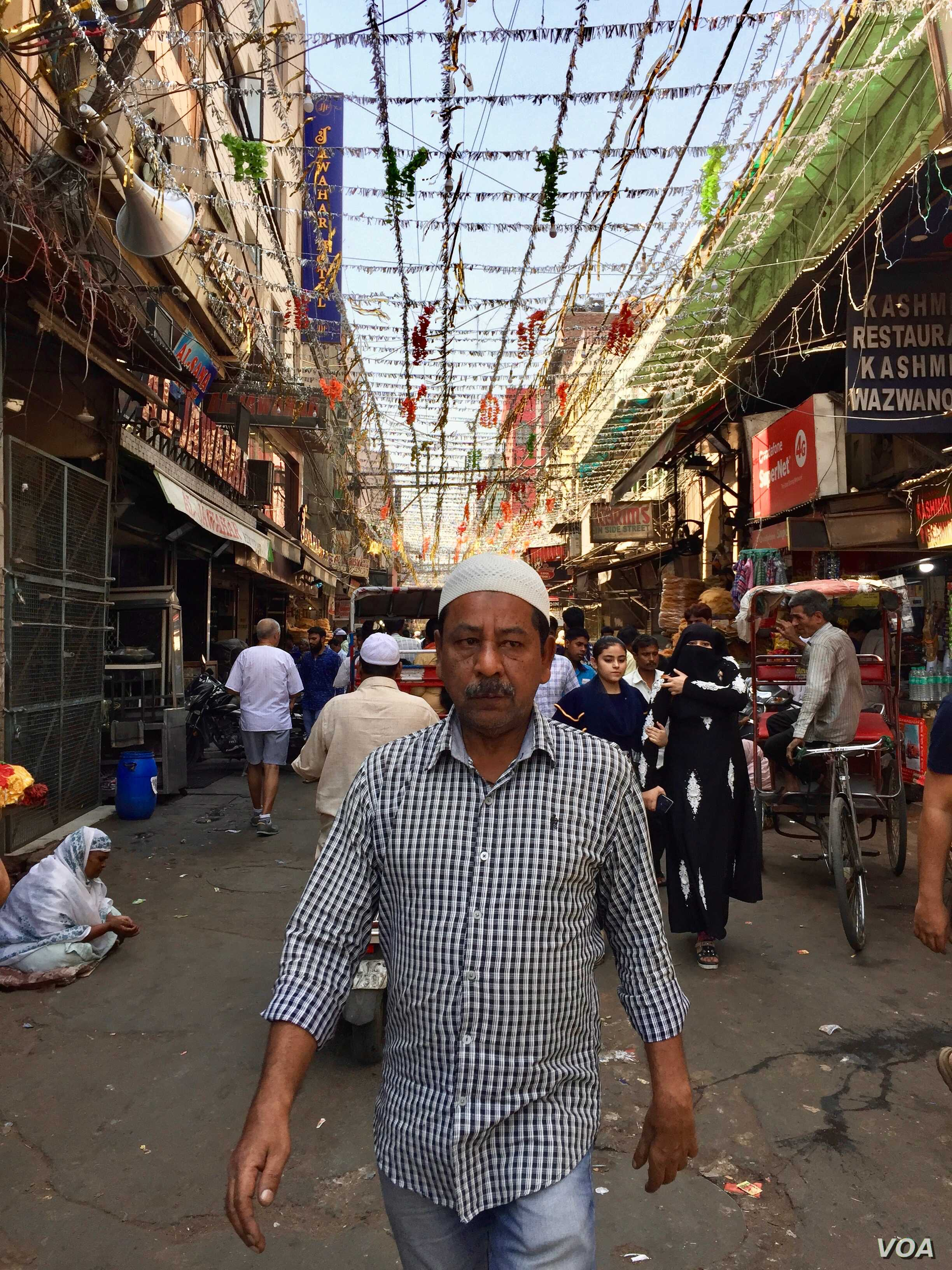 Streets outside the Jama Masjid area have been decorated for the holy month of Ramadan.