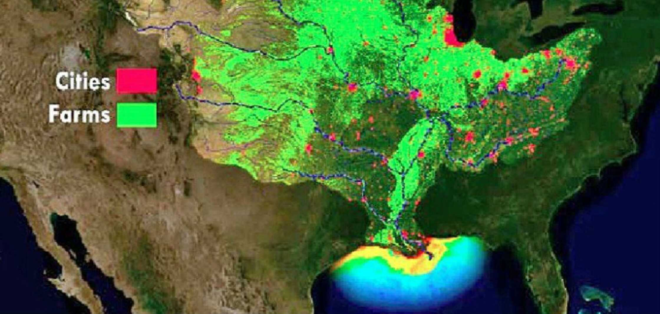 The NOAA map shows in general how runoff from farms in green and cities in red drains into the Mississippi River.