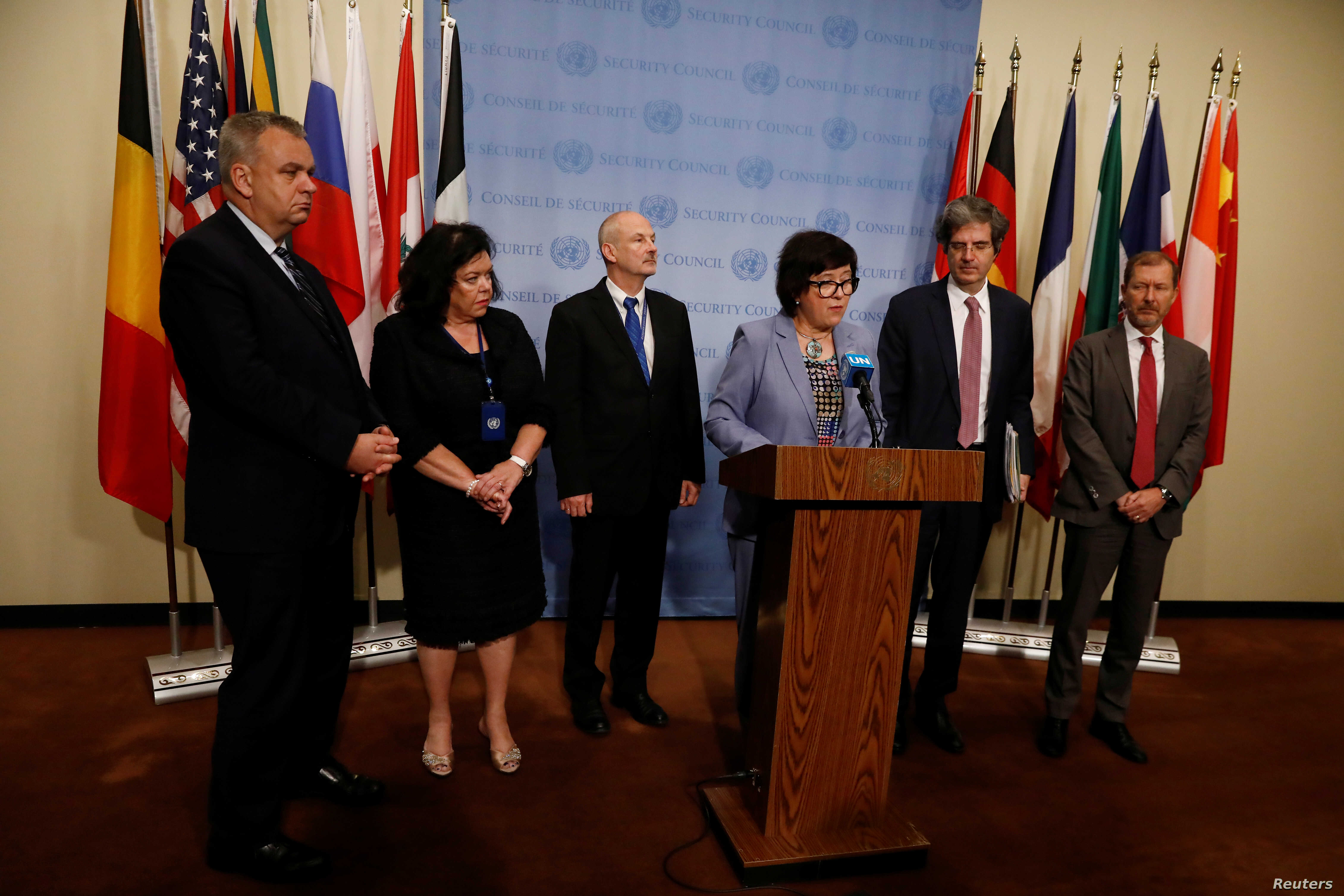 Joanna Wronecka, Polish Ambassador to the United Nations, speaks next to representatives from Germany, the United Kingdom, Estonia, France and Belgium after the U.N. Security Council briefings on the Iran nuclear deal, in New York, June 26, 2019.