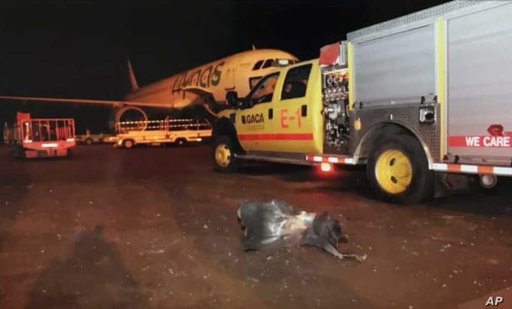 This photograph released by the state-run Saudi Press Agency shows debris on the tarmac of Abha Airport after an attack by Yemen's Houthi rebels, in Abha, Saudi Arabia, June 12, 2019.
