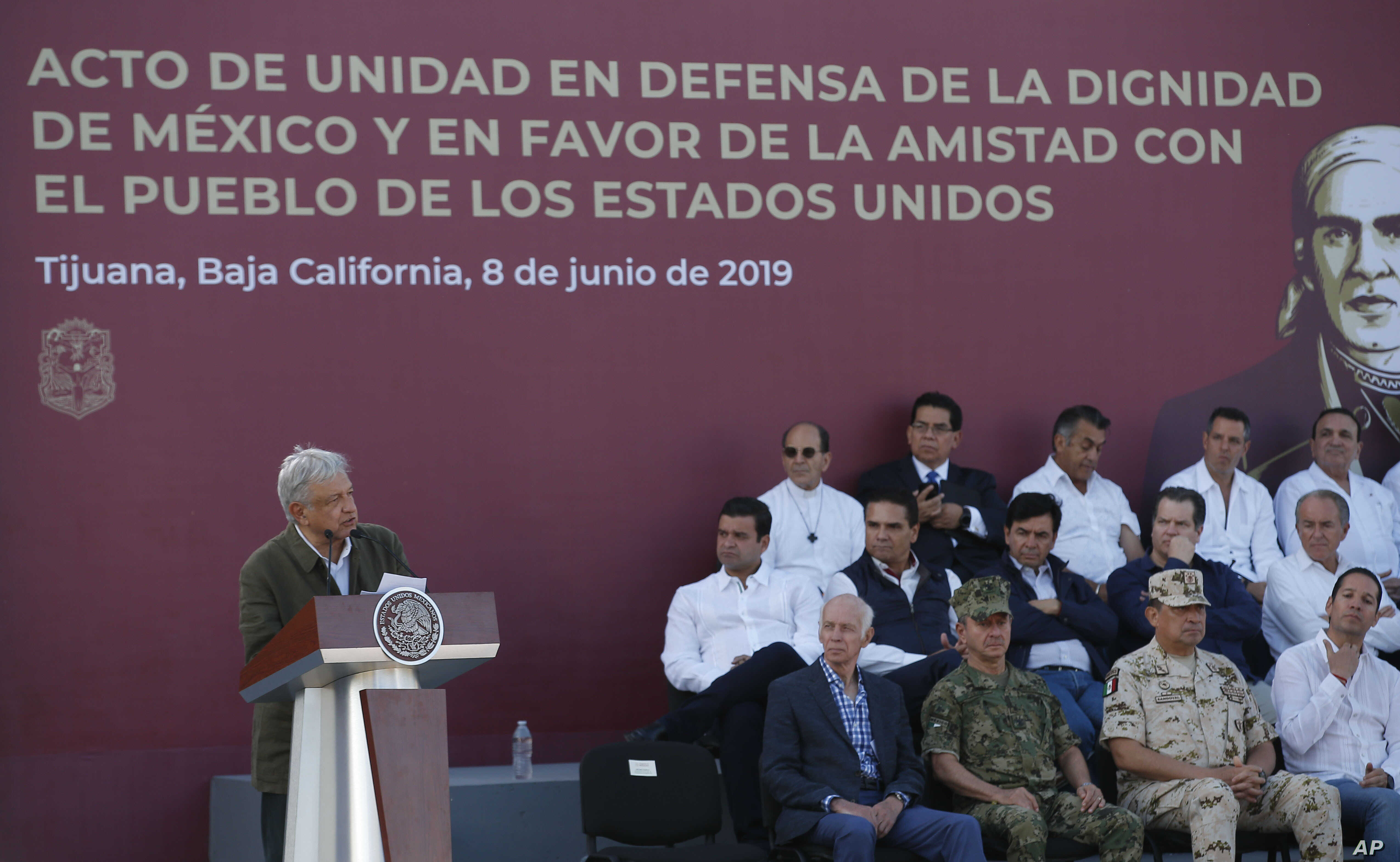 Mexican President Andres Manuel Lopez Obrador speaks during a rally in Tijuana, Mexico, Saturday, June 8, 2019.