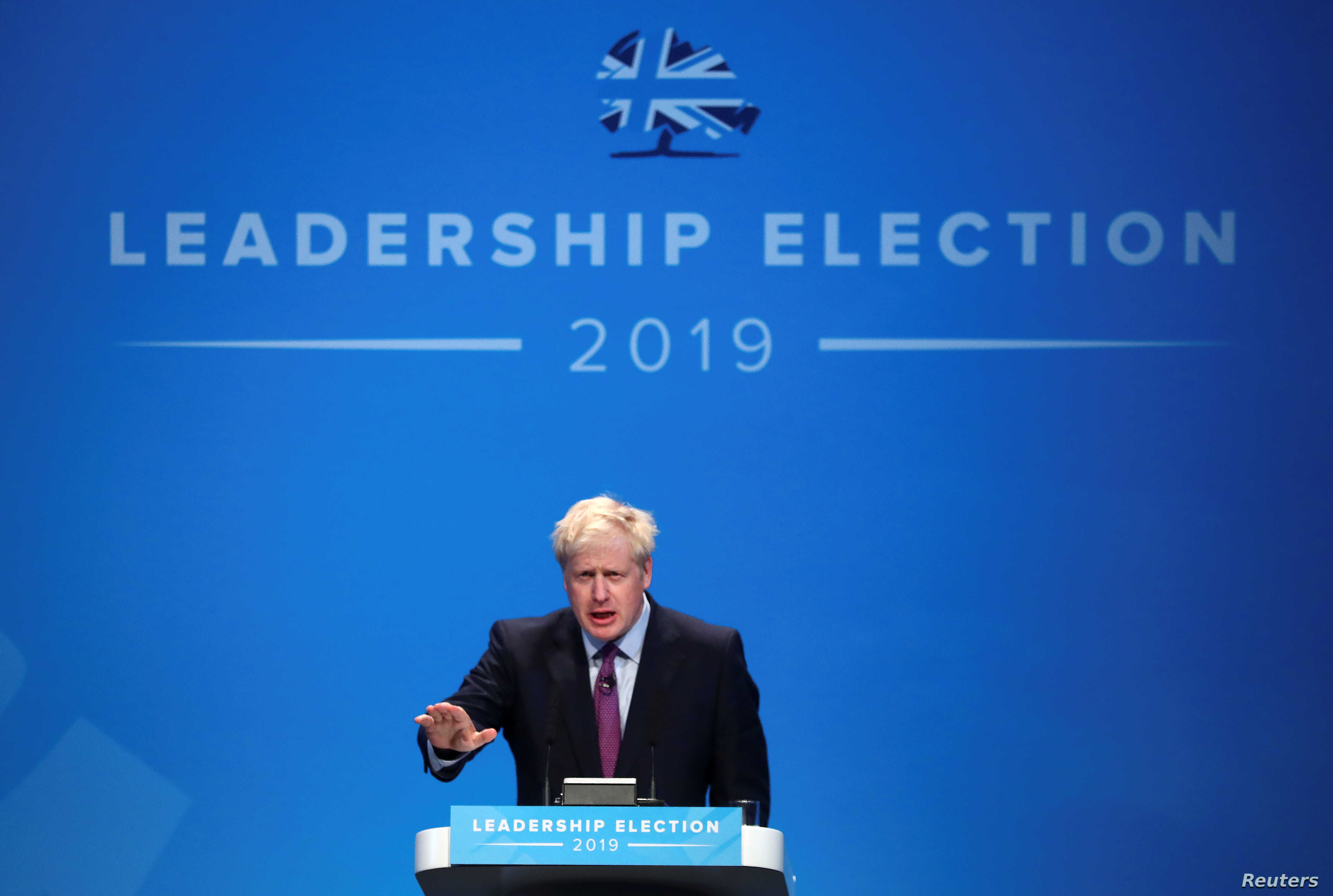 Boris Johnson, a leadership candidate for Britain's Conservative Party, speaks during an event in Birmingham, June 22, 2019.