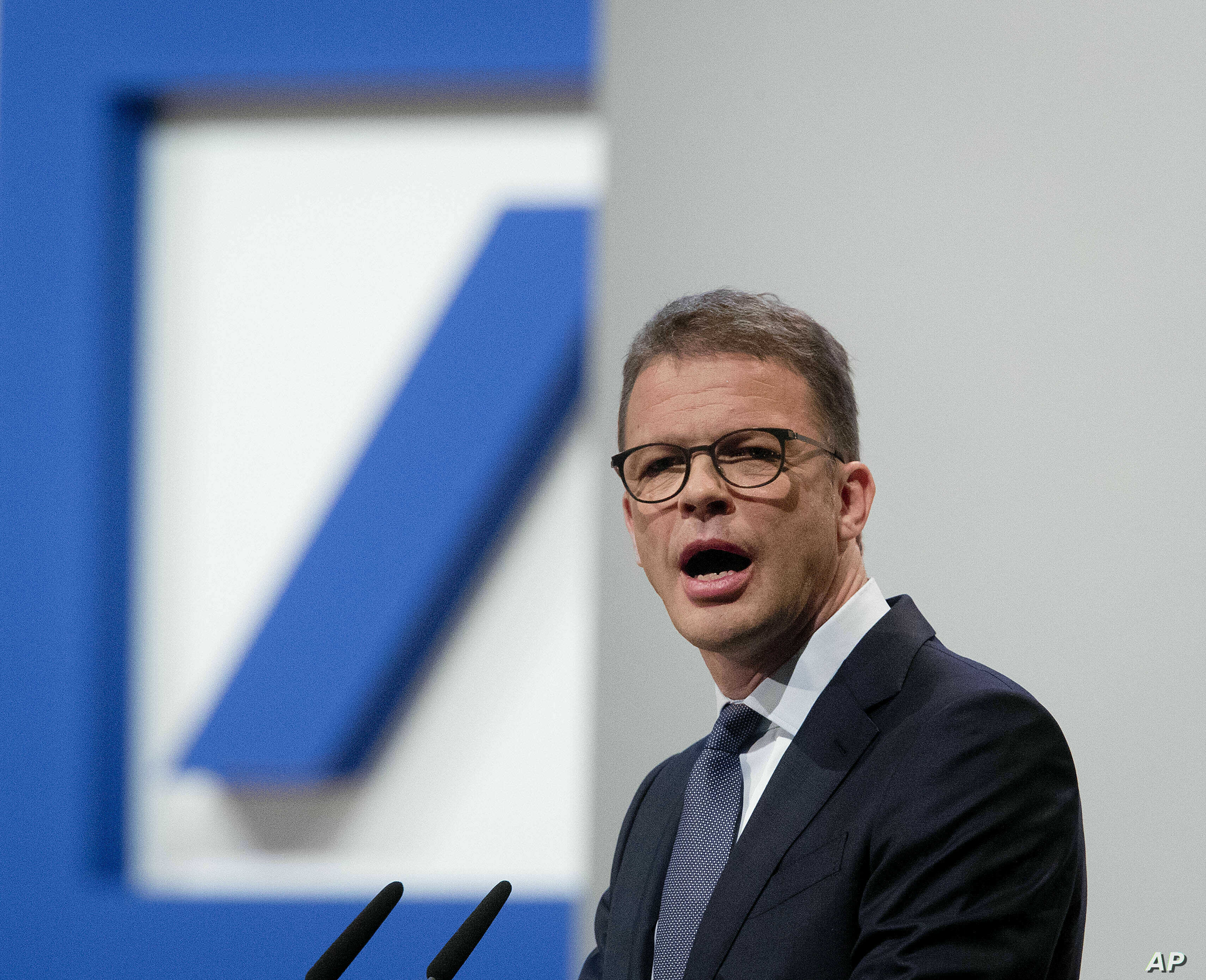 FILE - CEO of Deutsche Bank Christian Sewing speaks during the annual shareholders meeting in Frankfurt, Germany, May 23, 2019.