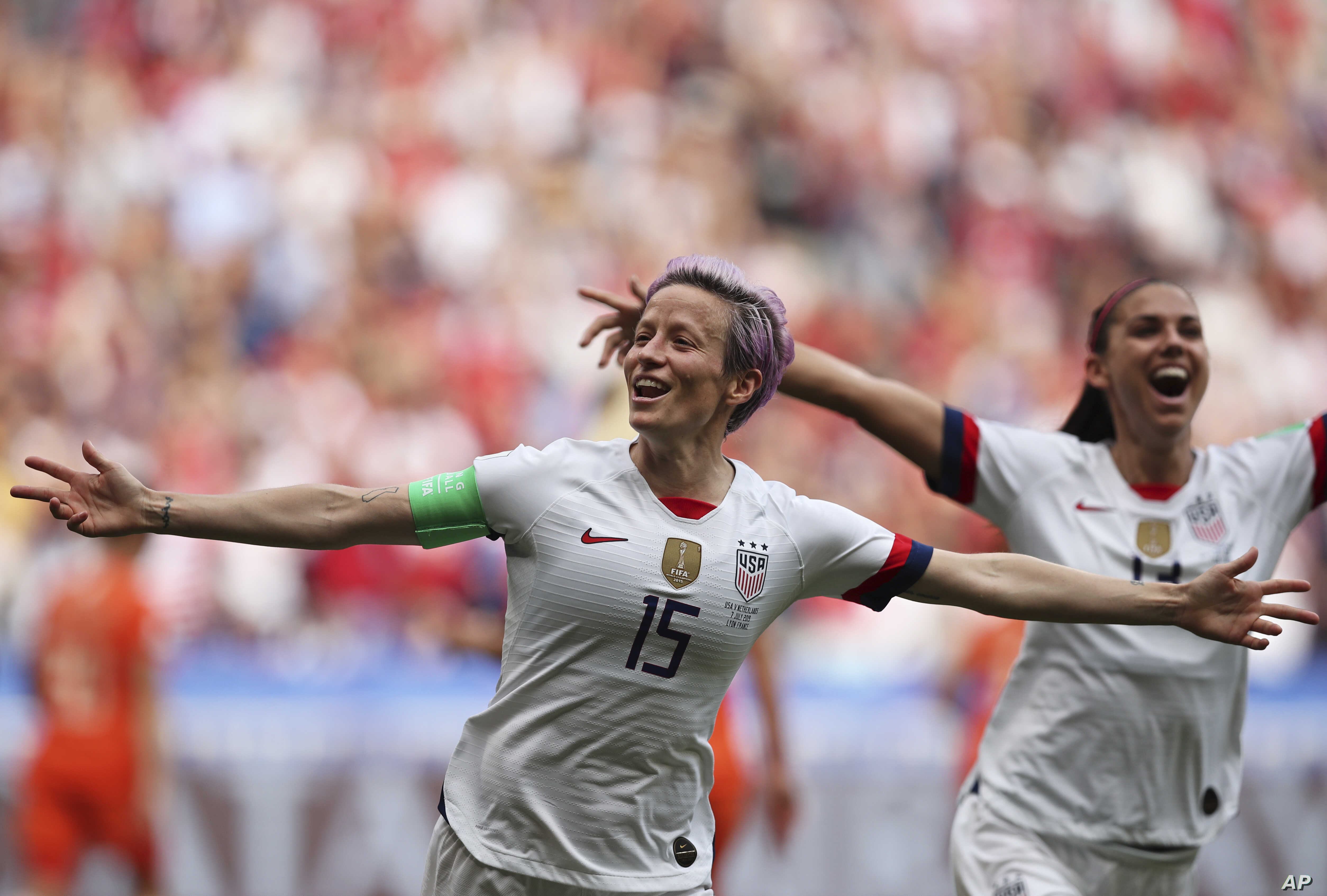 U.S. player Megan Rapinoe celebrates after scoring the opening goal during the World Cup final match against The Netherlands outside Lyon, France, July 7, 2019.