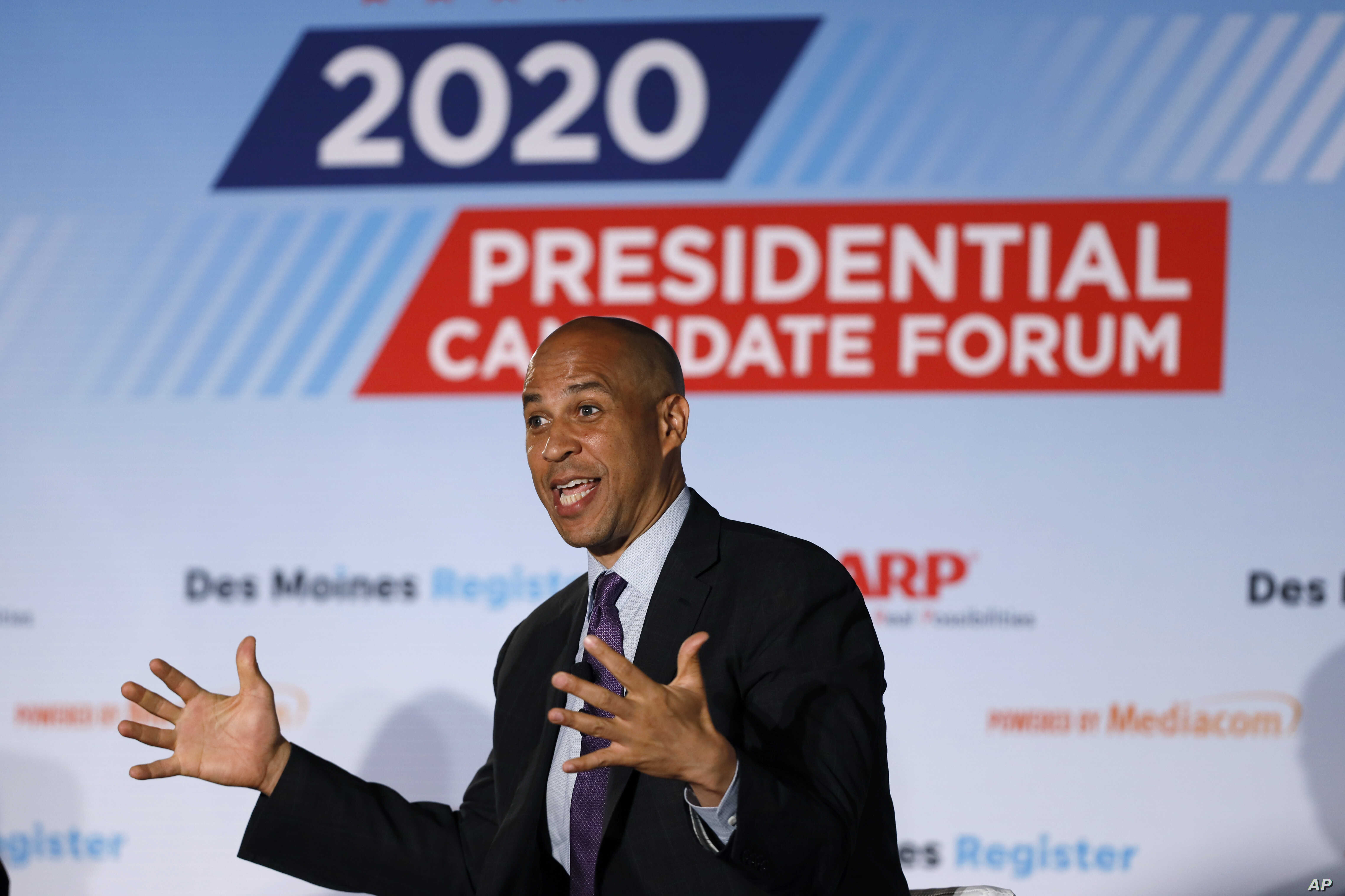 FILE - Democratic presidential candidate Sen. Cory Booker speaks during a presidential candidates forum sponsored by AARP and The Des Moines Register in Des Moines, Iowa, July 15, 2019.