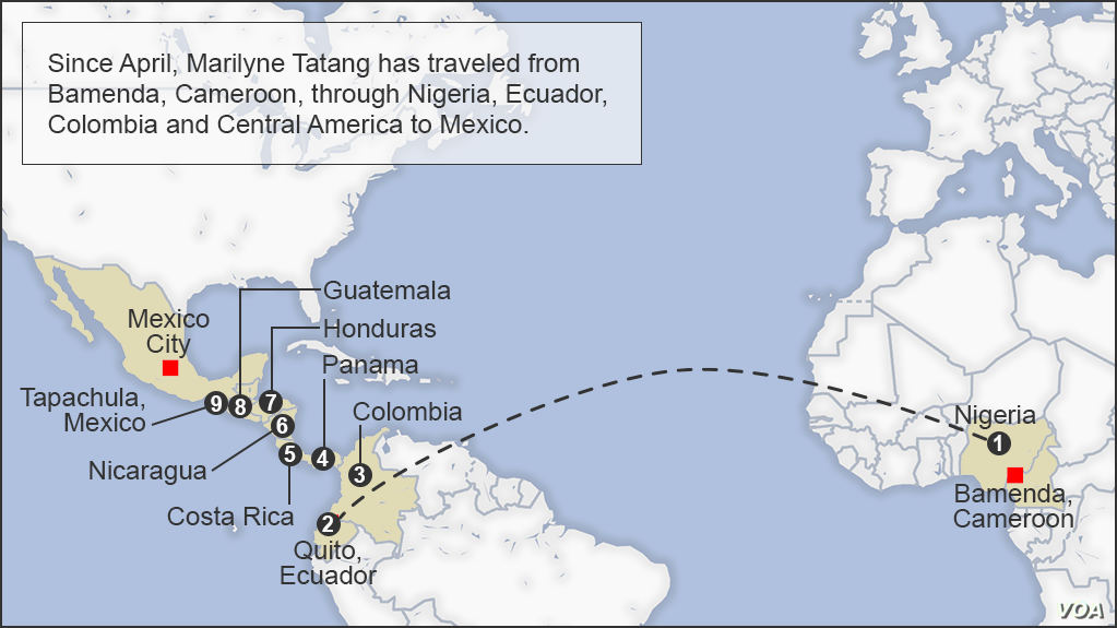 Map of Marilyne Tatang's journey to America