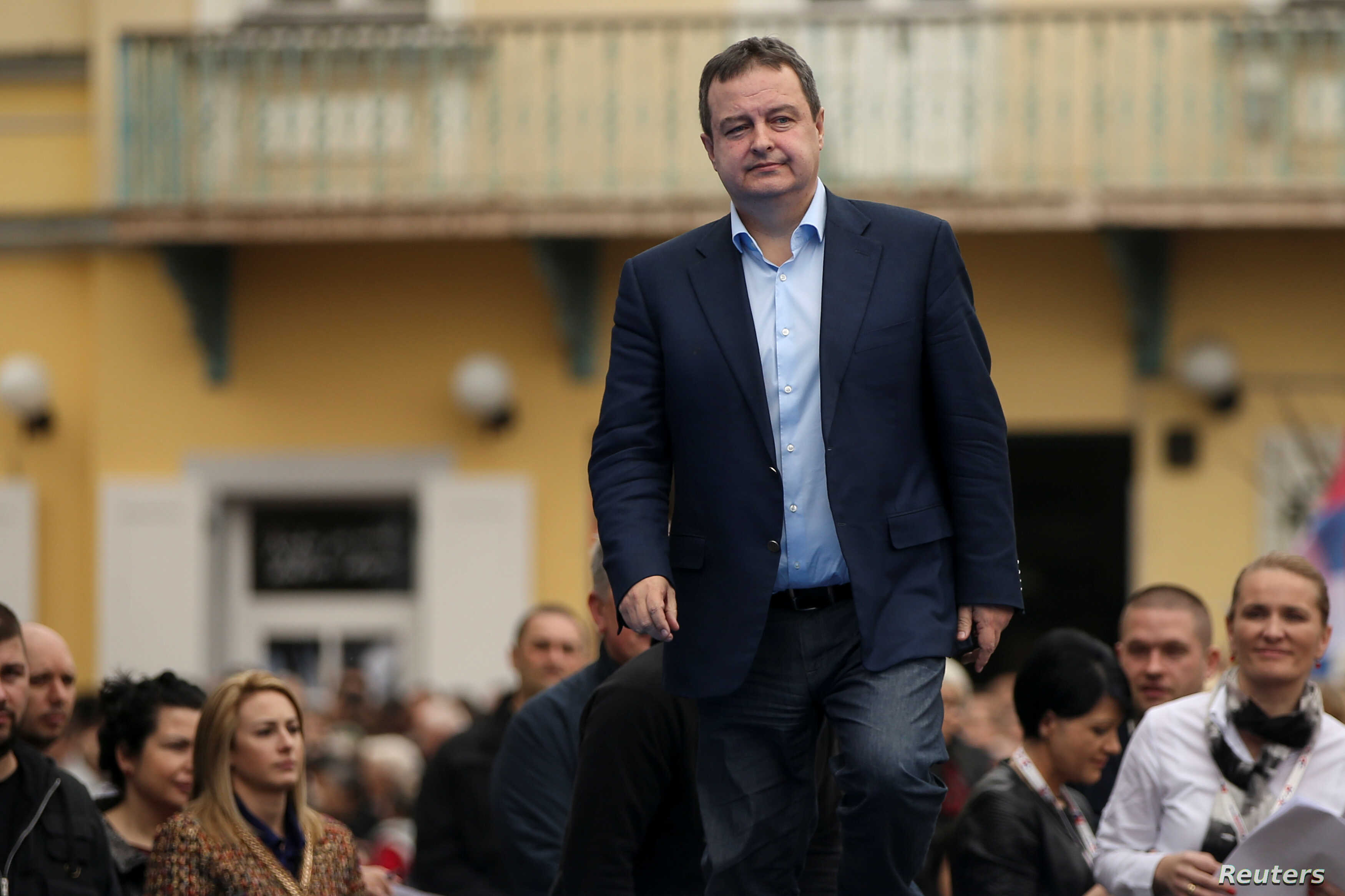 FILE - Serbia's Foreign Minister Ivica Dacic during a rally in Novi Sad, Serbia, March 18, 2017.