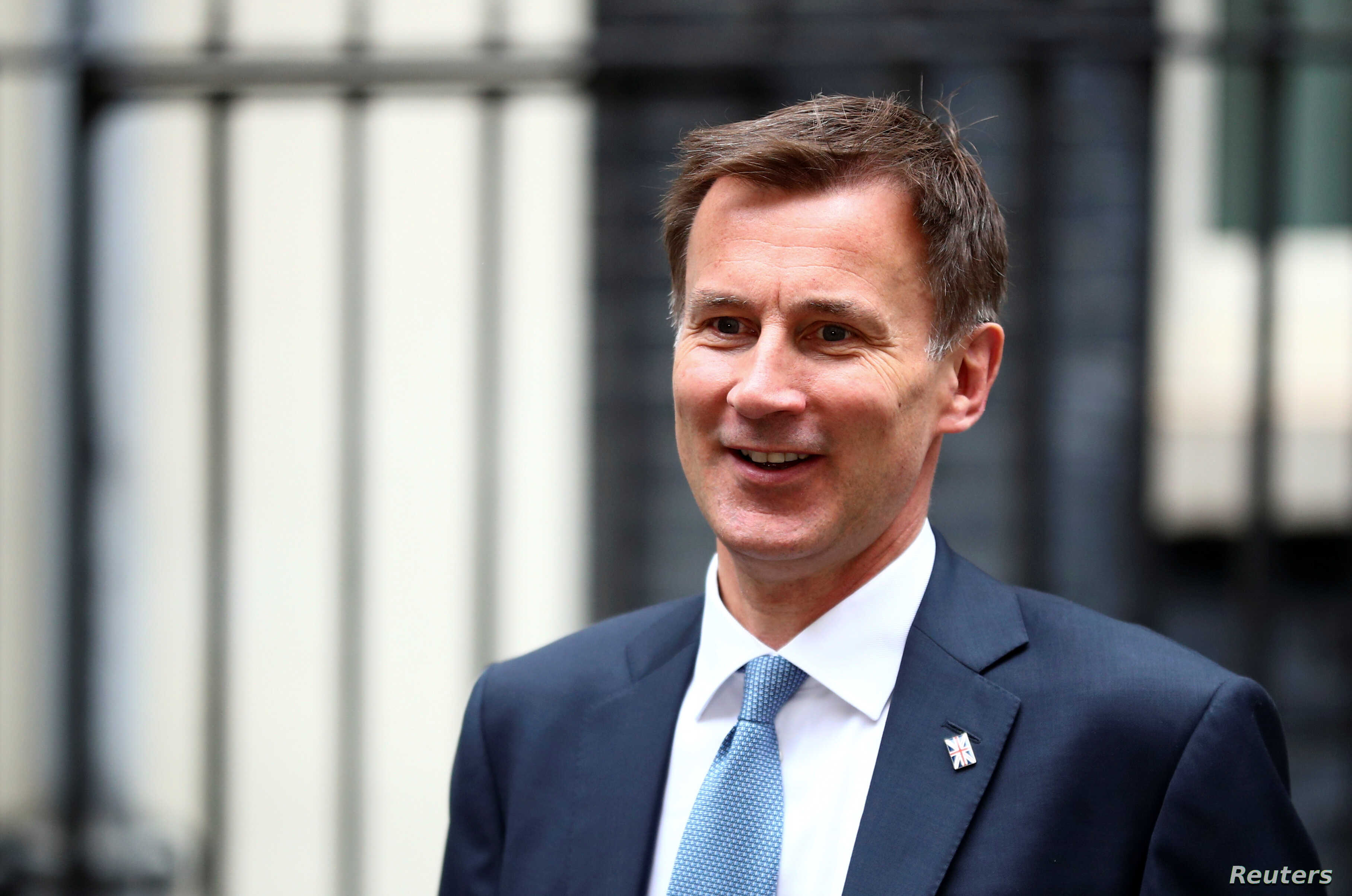 Britain's Foreign Secretary and Conservative Party leadership candidate Jeremy Hunt is seen outside Downing Street in London, Britain, July 22, 2019.