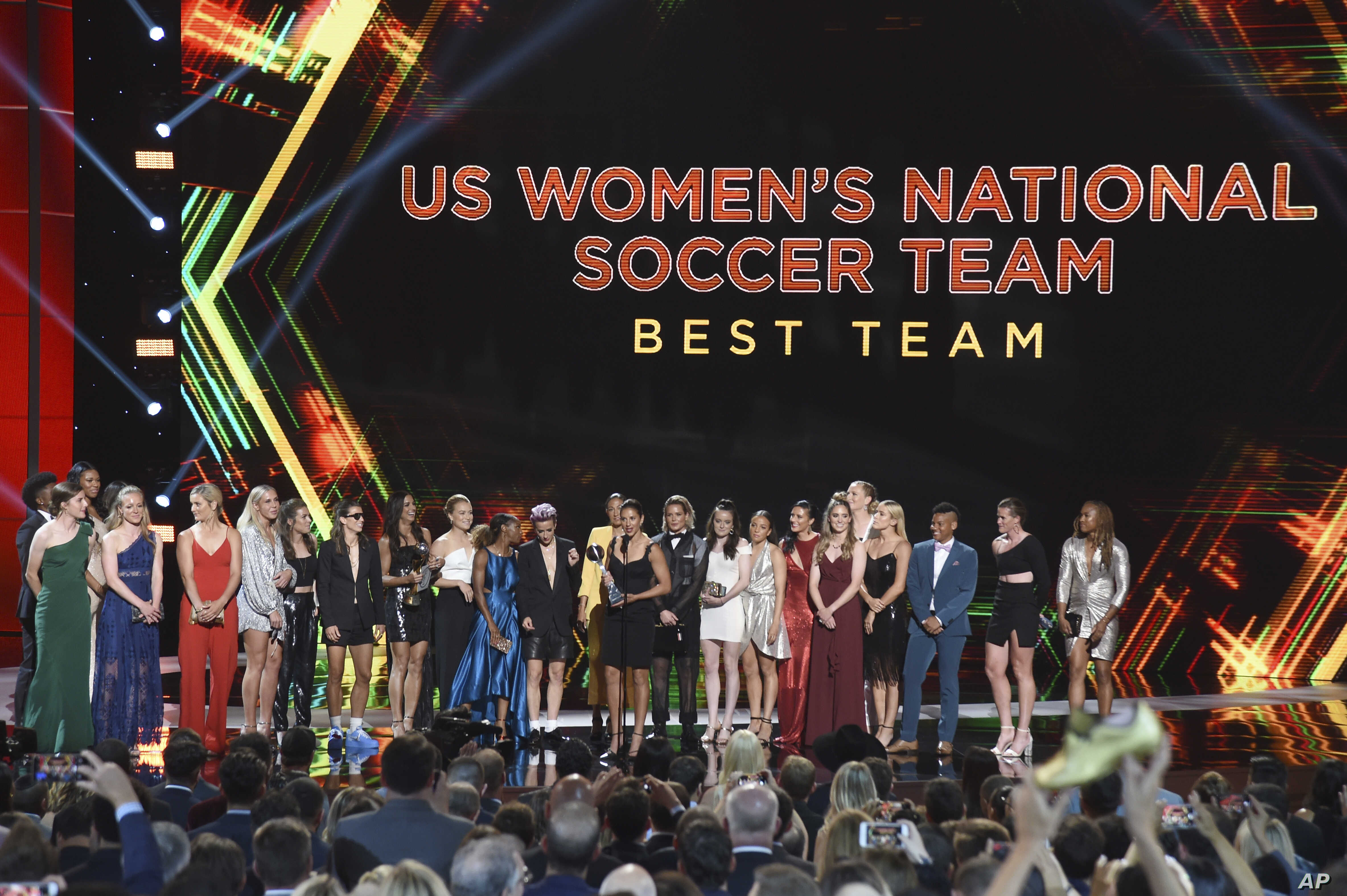 The U.S. women's national soccer team accepts the award for best team at the ESPY Awards, July 10, 2019, at the Microsoft Theater in Los Angeles.