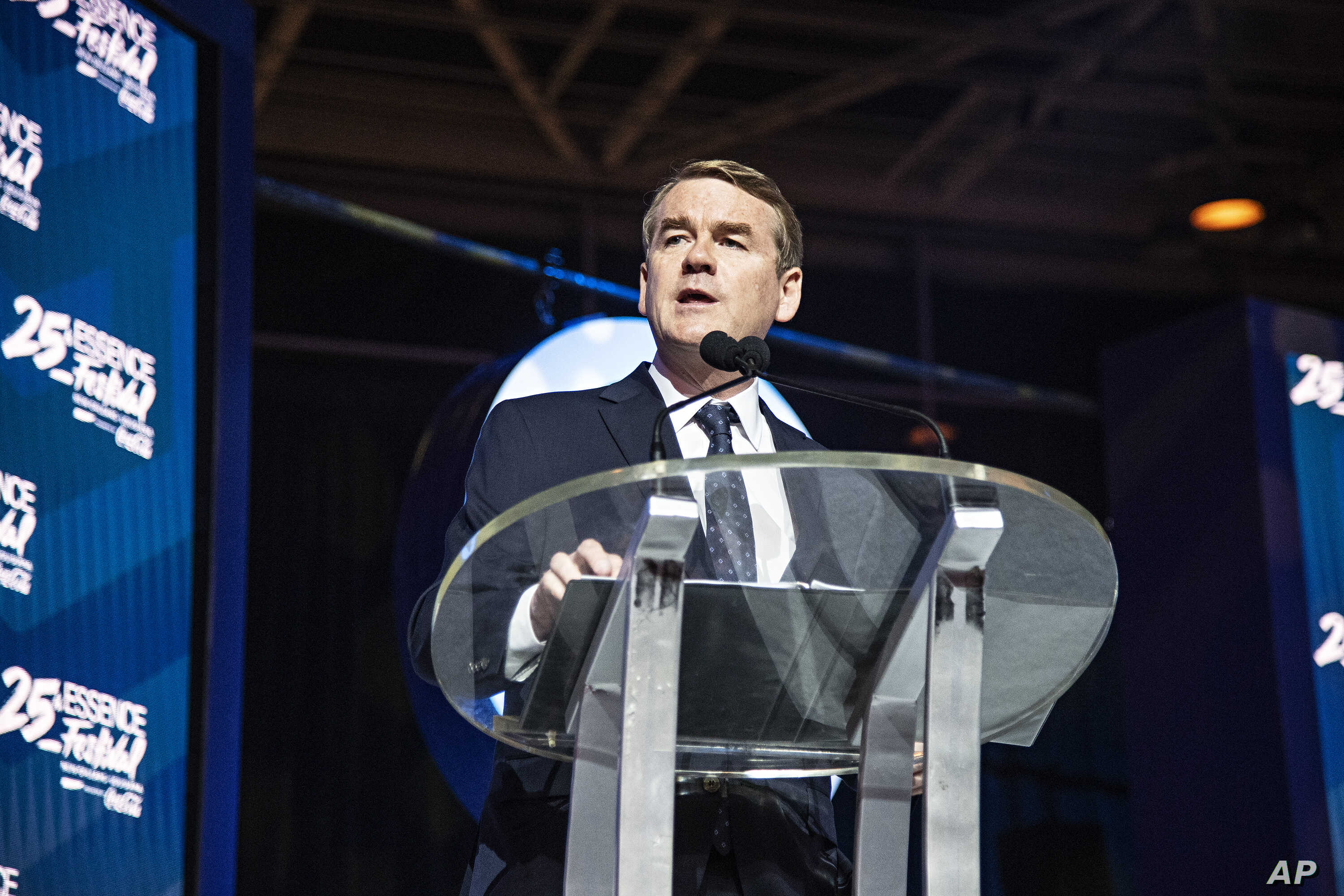 Democratic presidential candidate, Sen. Michael Bennet, D-Colo., speaks at the 2019 Essence Festival at the Ernest N. Morial Convention Center, July 6, 2019, in New Orleans.
