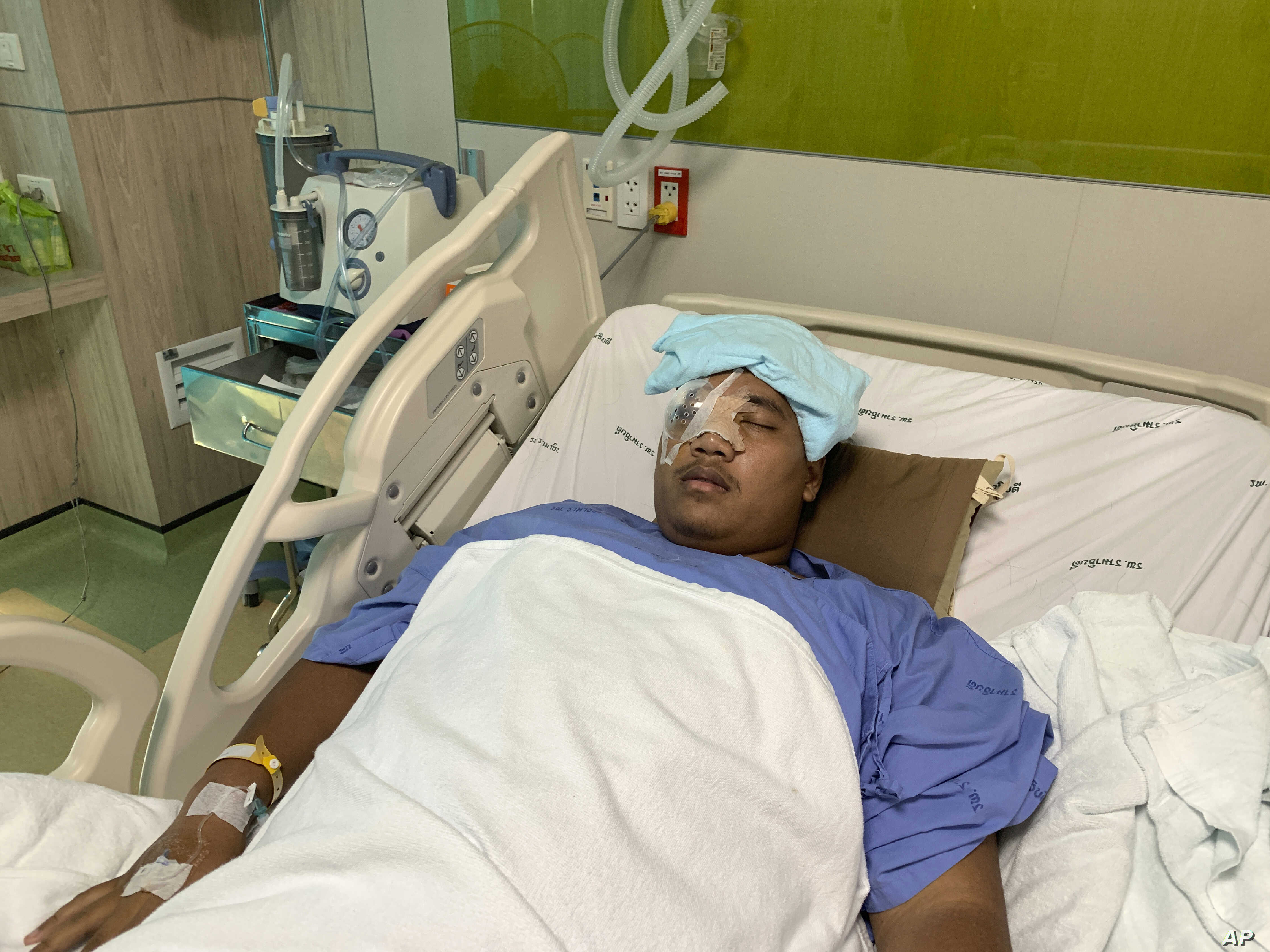 Pro-democracy activist Sirawith Seritiwat is recuperating in a hospital following last week's attack on him, in Bangkok, Thailand, July 3, 2019.