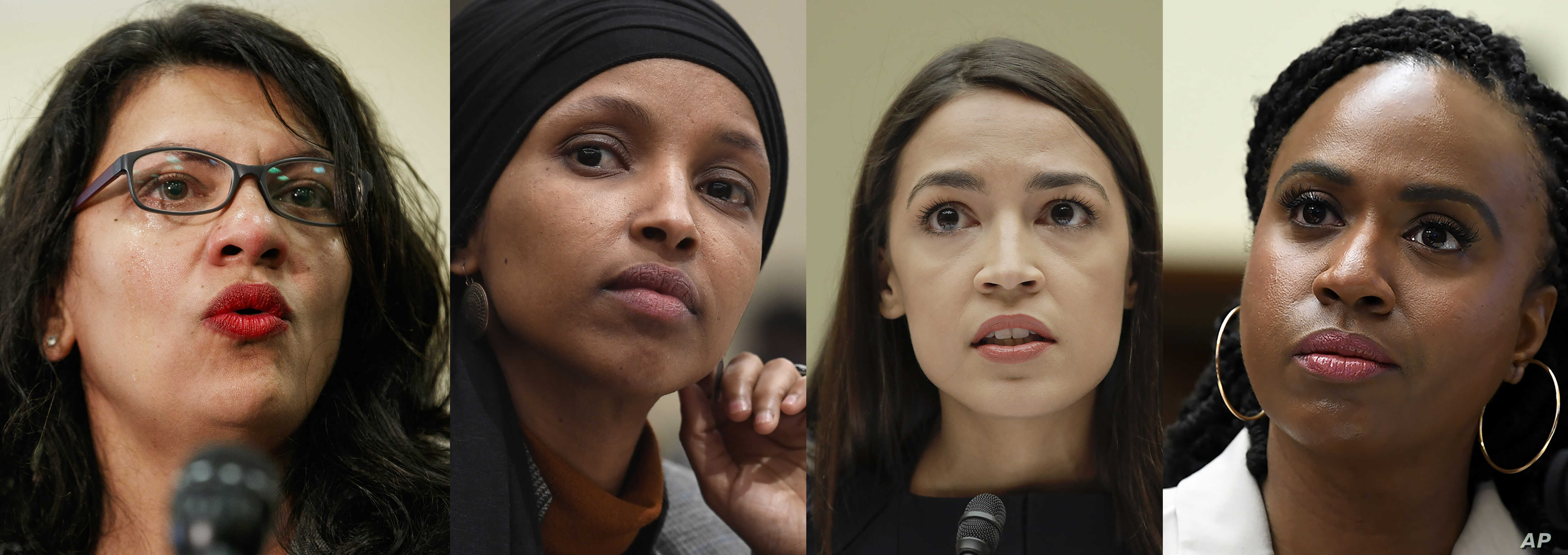 President Donald Trump portrays Rep. Rashida Tlaib, D-Mich., left, Rep. Ilhan Omar, D-Minn., 2nd left, Rep. Alexandria Ocasio-Cortez, D-NY., 3rd left, and Rep. Ayanna Pressley, D-Mass., right, as foreign-born troublemakers.