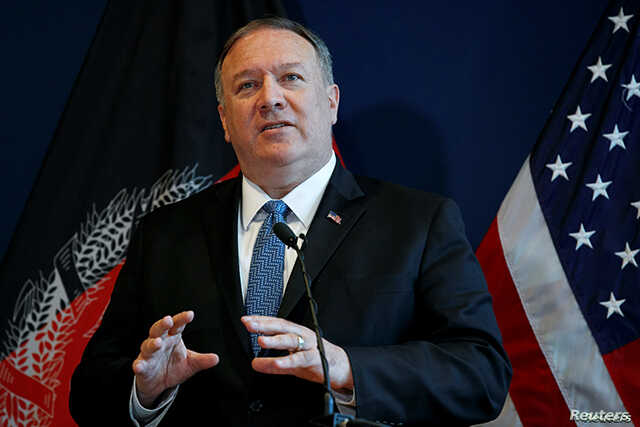 U.S. Secretary of State Mike Pompeo speaks during a news conference at the U.S. Embassy in Kabul, Afghanistan, June 25, 2019.