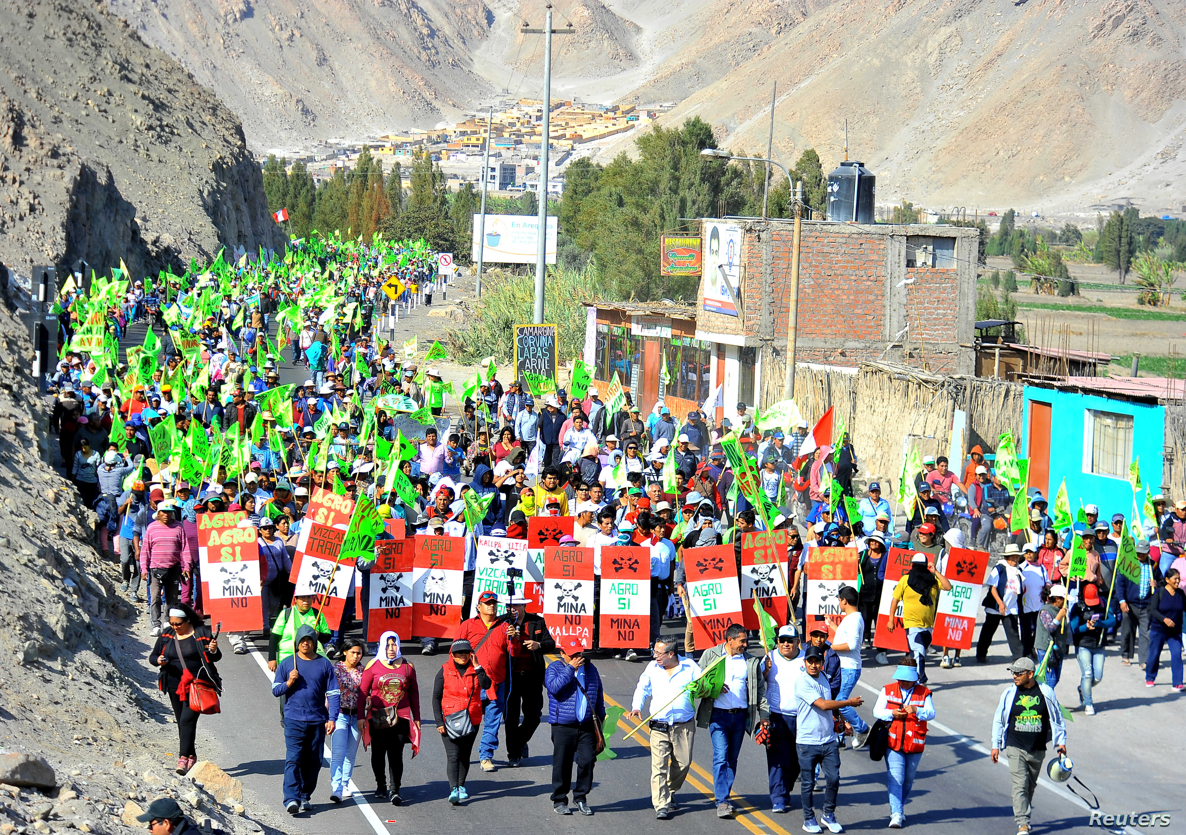 Demonstrators protest against Tia Maria mine in Arequipa, Peru, July 15, 2019.