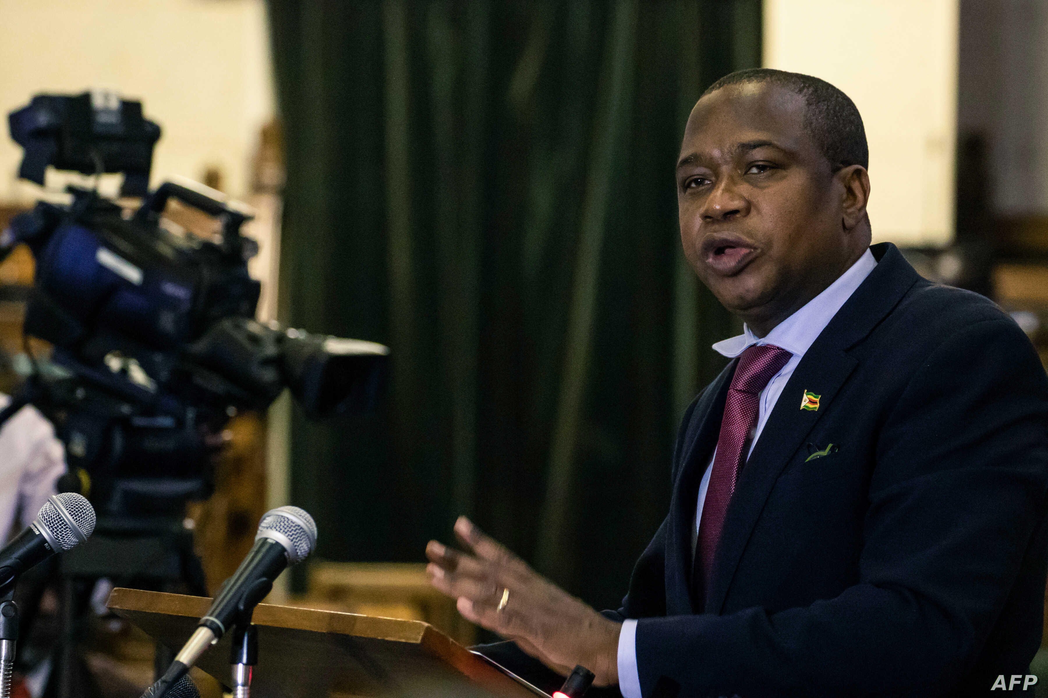 Zimbabwe's Finance Minister Mthuli Ncube delivers a speech to present his mid-term budget statement on Aug. 1, 2019 in Harare.