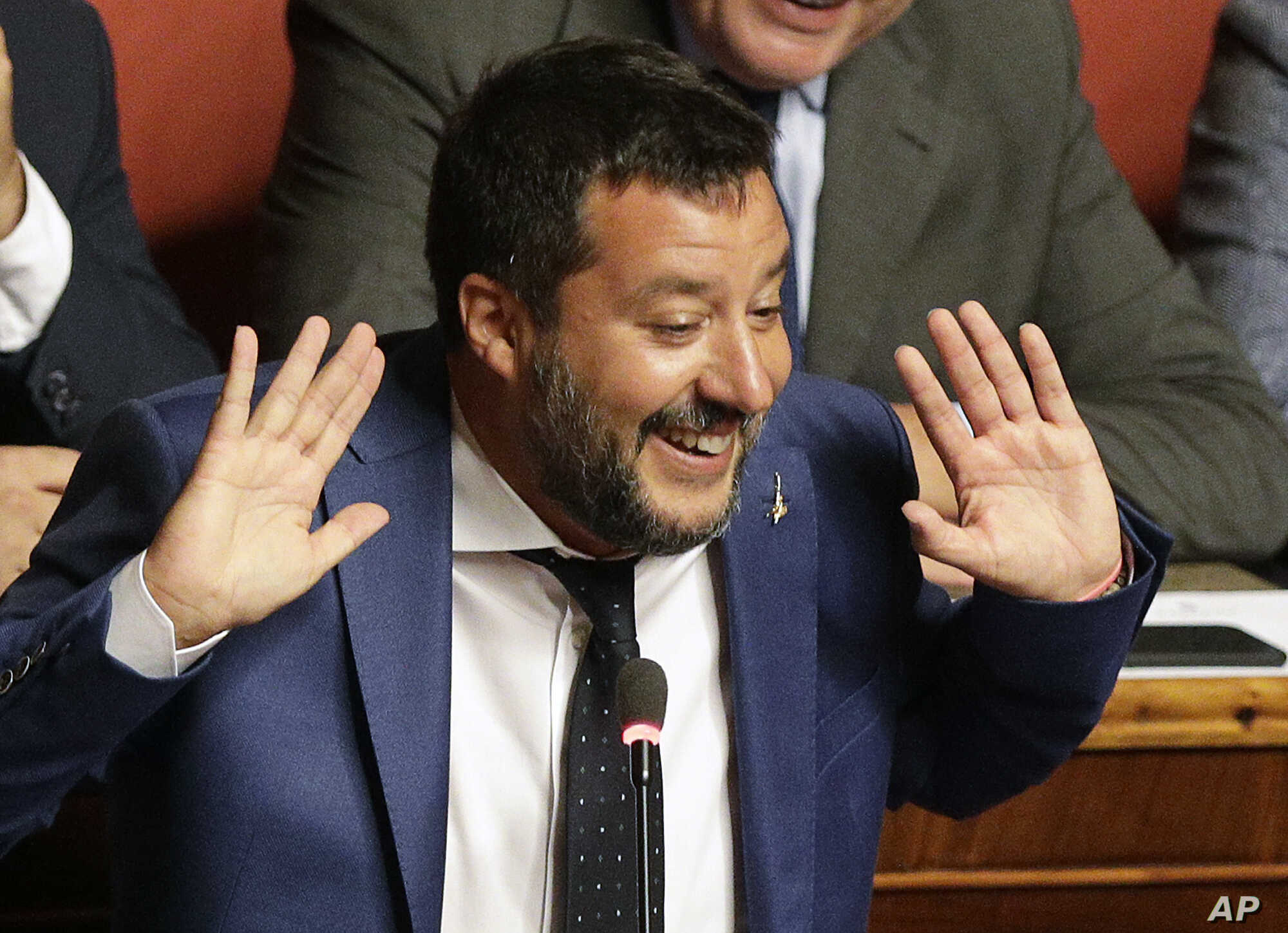 Italian Interior Minister and Deputy-Premier Matteo Salvini addresses the Senate in Rome, Aug. 13, 2019.