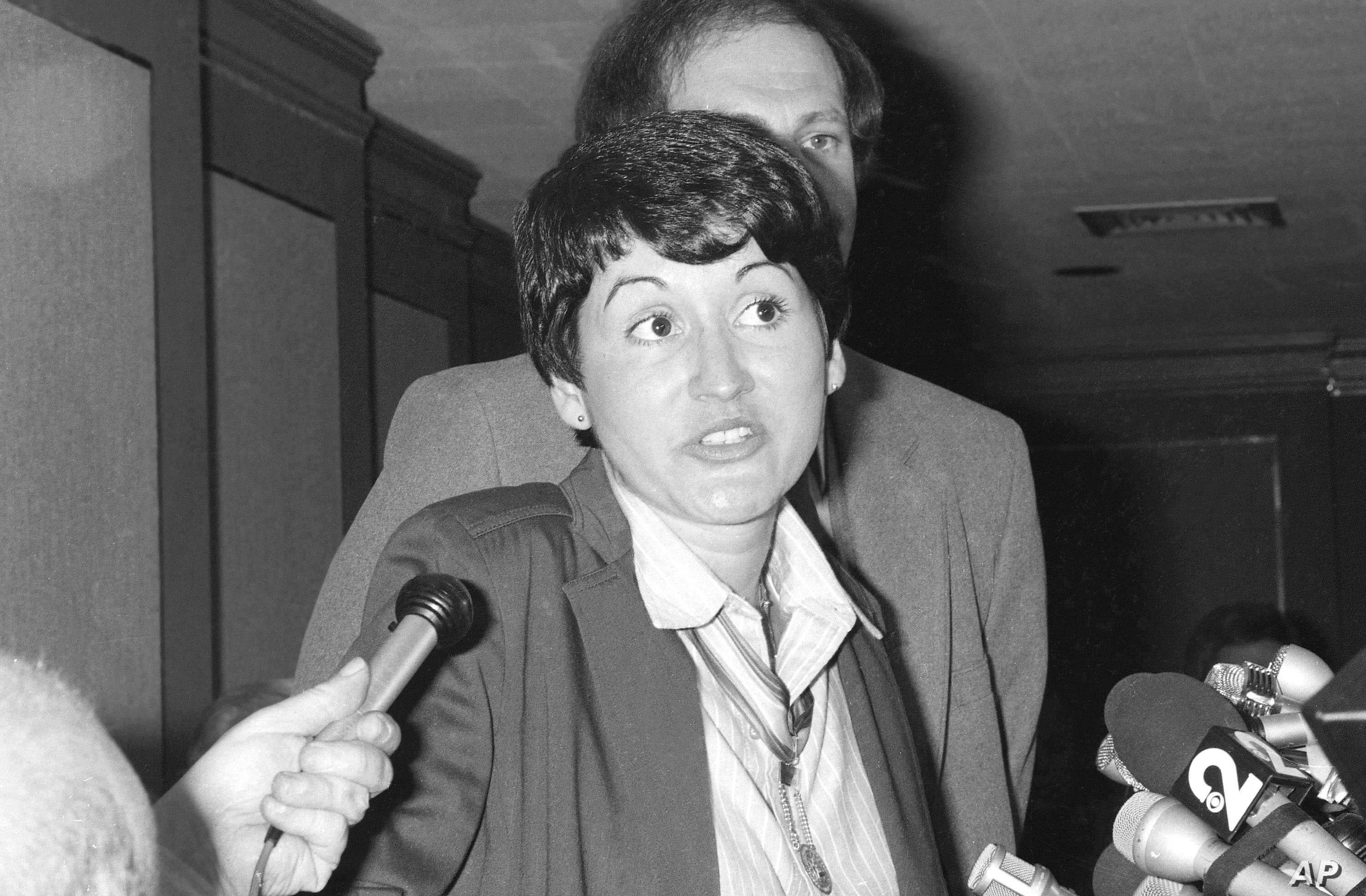 FILE - Rosie Ruiz, controversial first-place woman finisher in the 1980 Boston Marathon,speaks during a news conference in New York, April 24, 1980.
