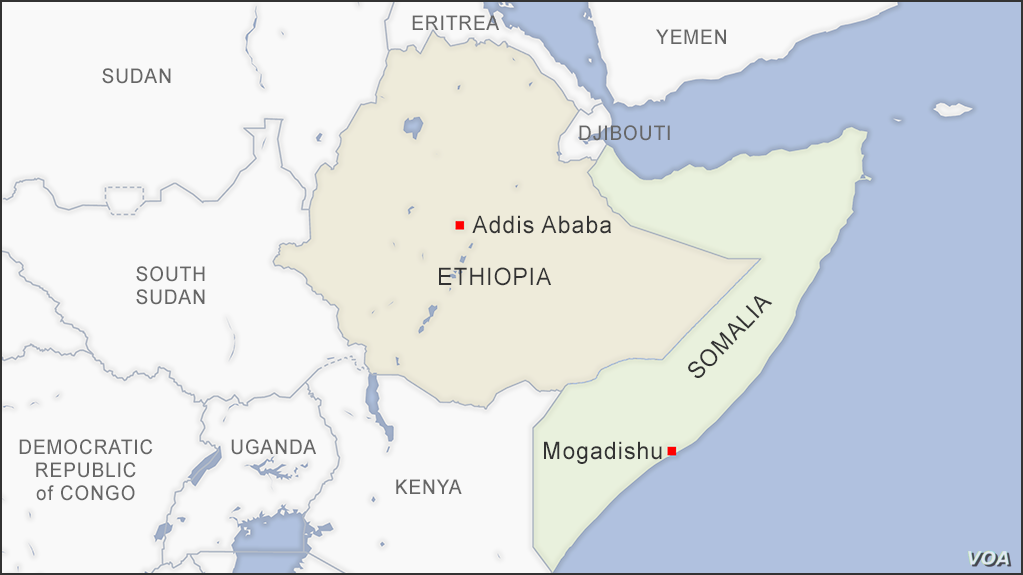 Map of Somalia and Ethiopia