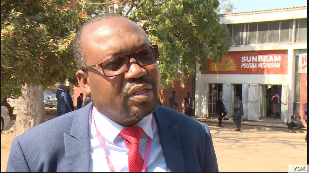 Daniel Molokhele, the spokesman for Zimbabwe's main opposition party the Movement For Democratic Change, says Harare is not taking the issue of human rights seriously, Aug. 1, 2019. (Columbus Mavhunga/VOA)