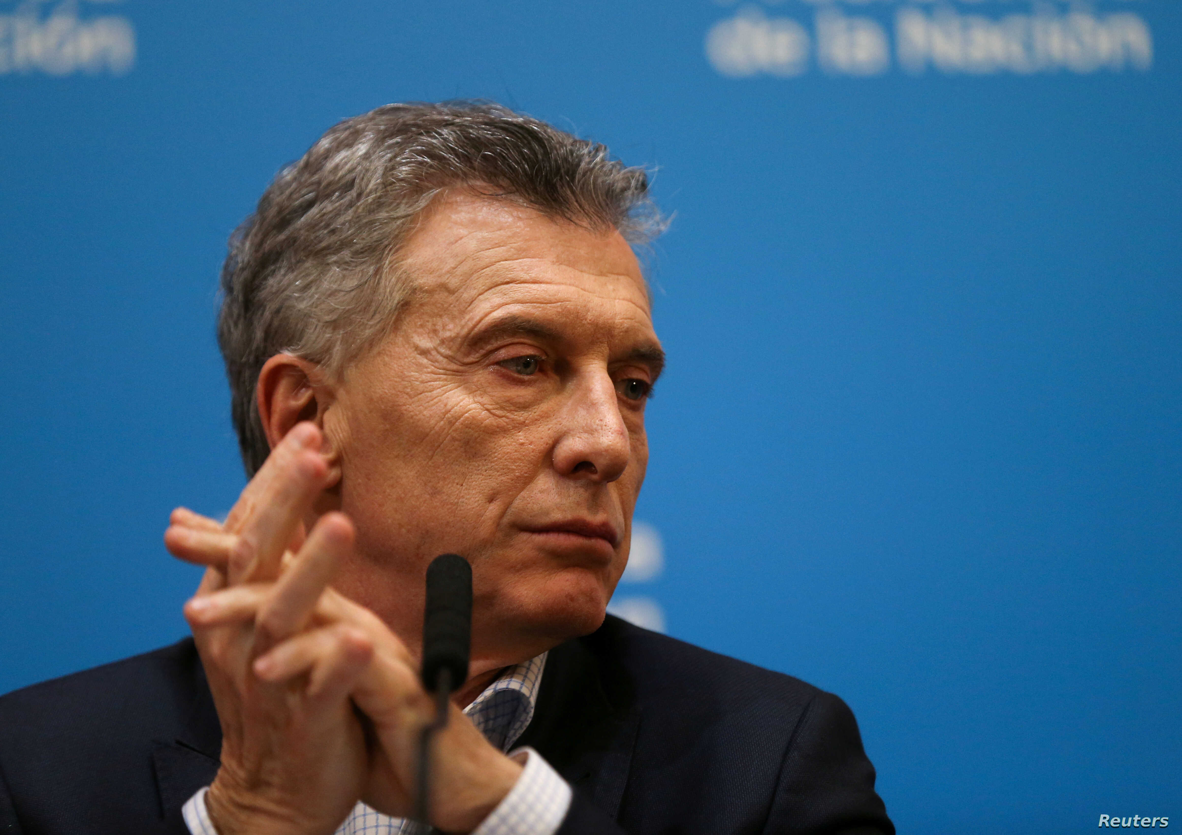 Argentina's President Mauricio Macri looks on during a news conference after the presidential primaries, in Buenos Aires, Argentina, Aug. 12, 2019.
