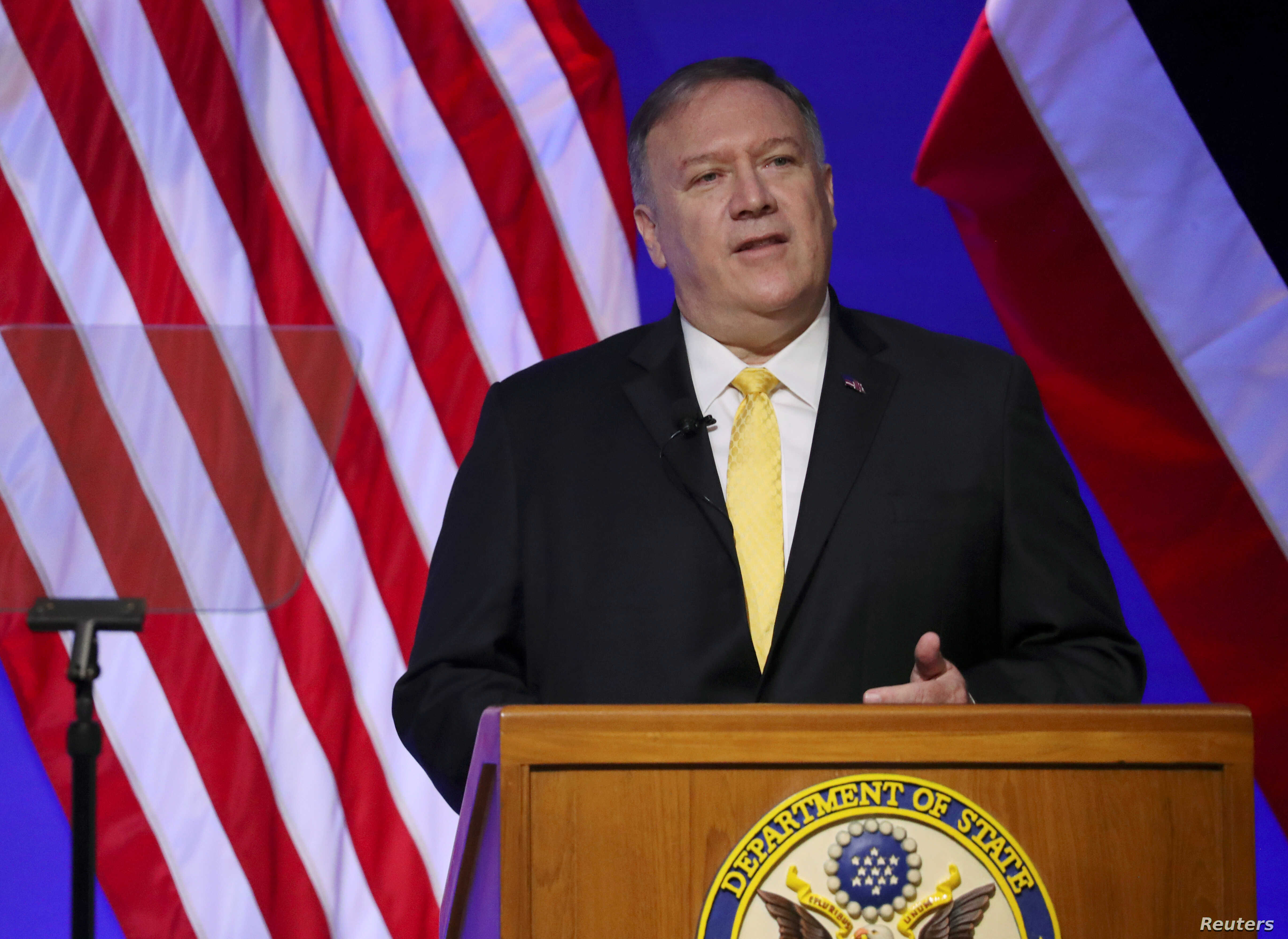 U.S. Secretary of State Mike Pompeo delivers a speech at Siam Society in Bangkok, Thailand, Aug. 2, 2019.