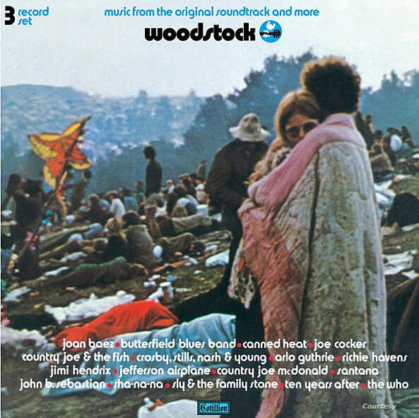 The Woodstock album cover which features Nick and Bobbi Ercoline at the festival in 1969.