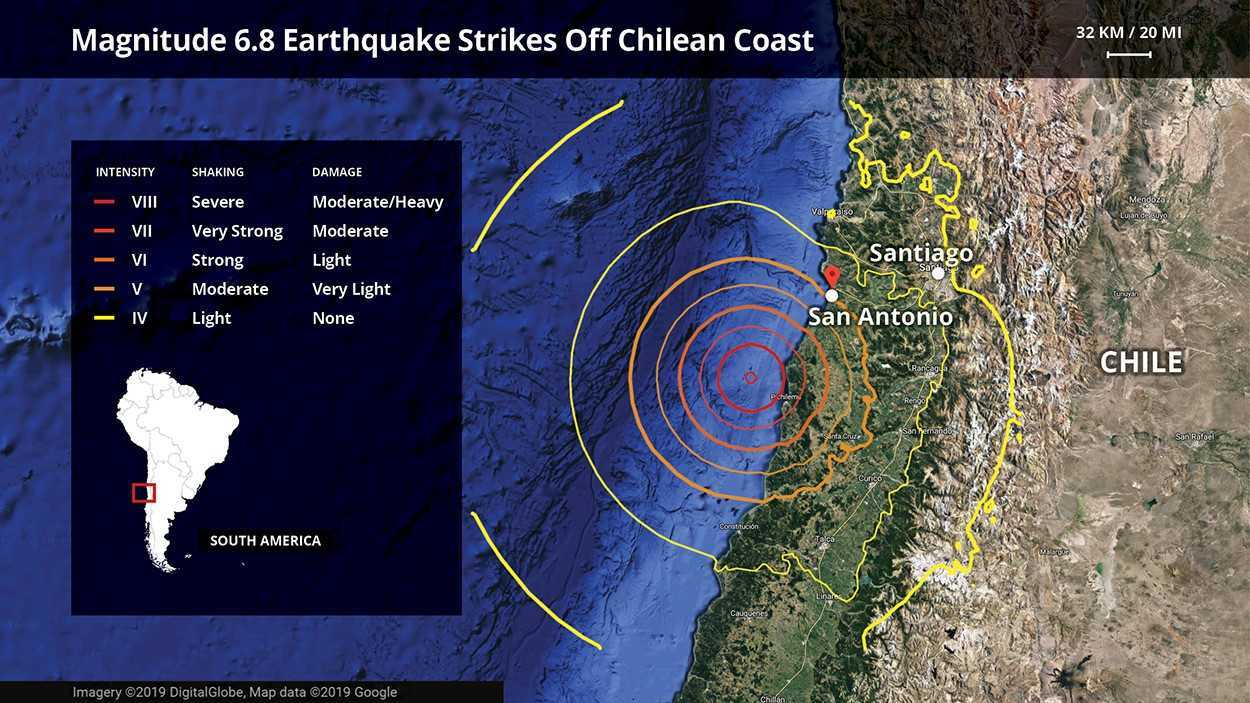 Image result for August 1, 2019, magnitude-6.8 Chile earthquake