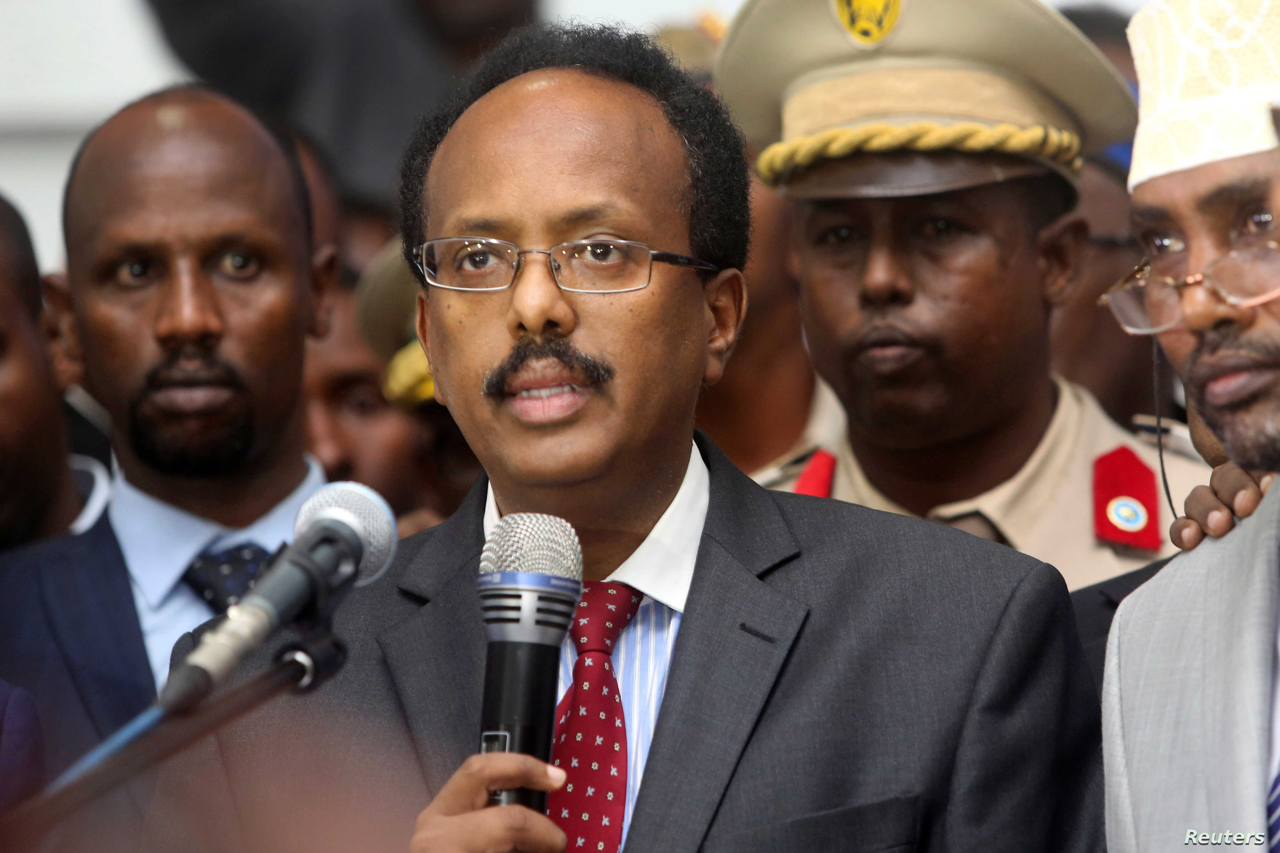 Somalia's President Mohamed Abdullahi Farmajo addresses lawmakers in the capital Mogadishu, Feb. 8, 2017.