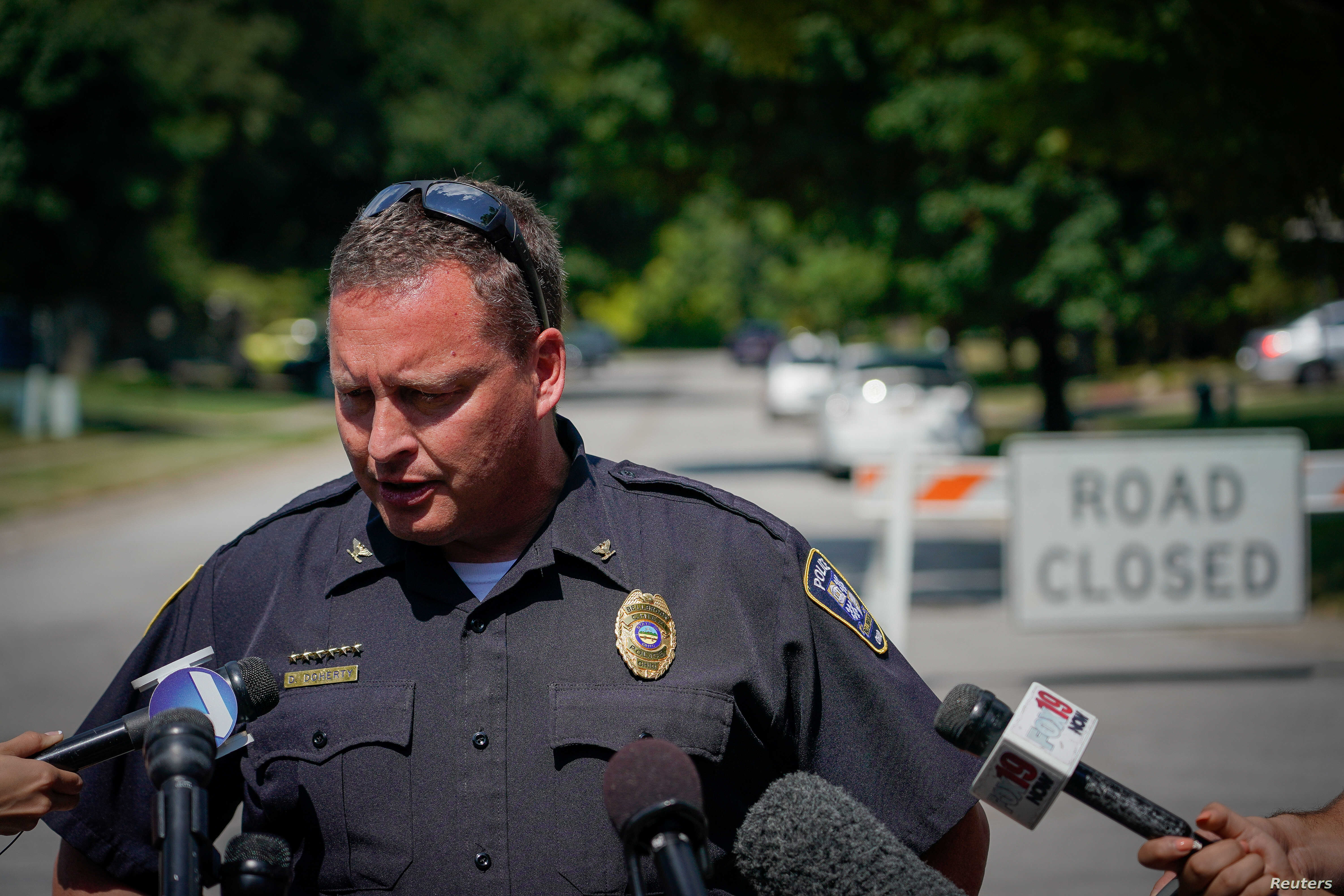 Bellbrook Police Chief Doug Doherty briefs the media near the family home of Dayton mass shooting suspect Connor Betts, in Bellbrook, Ohio, Aug. 5, 2019.