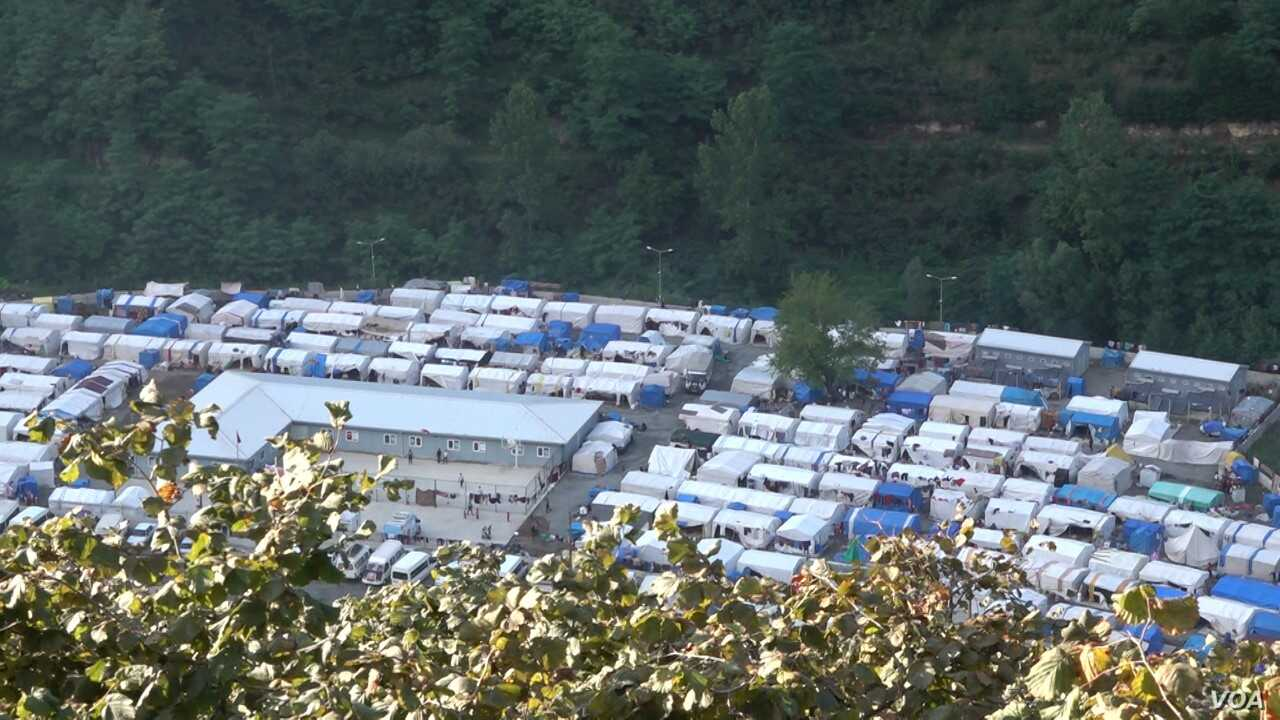 Many of the hazelnut migrant workers have to stay in state run camps (D. Jones/VOA)