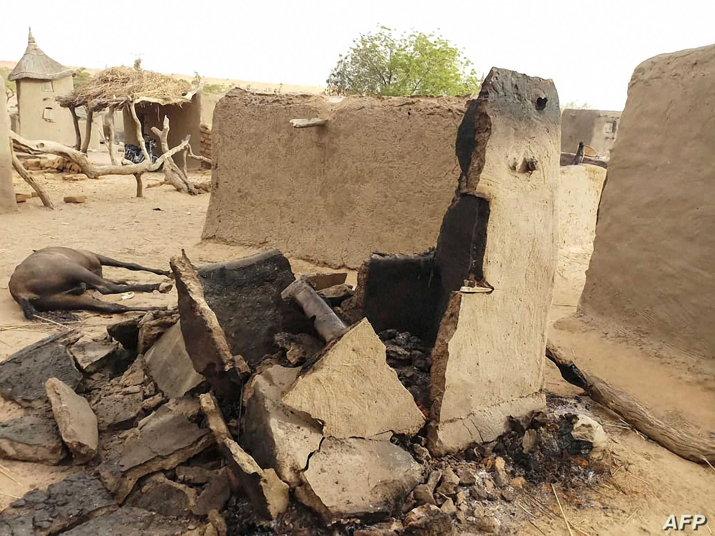 A destroyed home is seen on June 11, 2019 in the Dogon village of Sobane-Kou, near Sangha, after an attack that killed over 100 ethnic Dogon on June 9, 2019 evening.