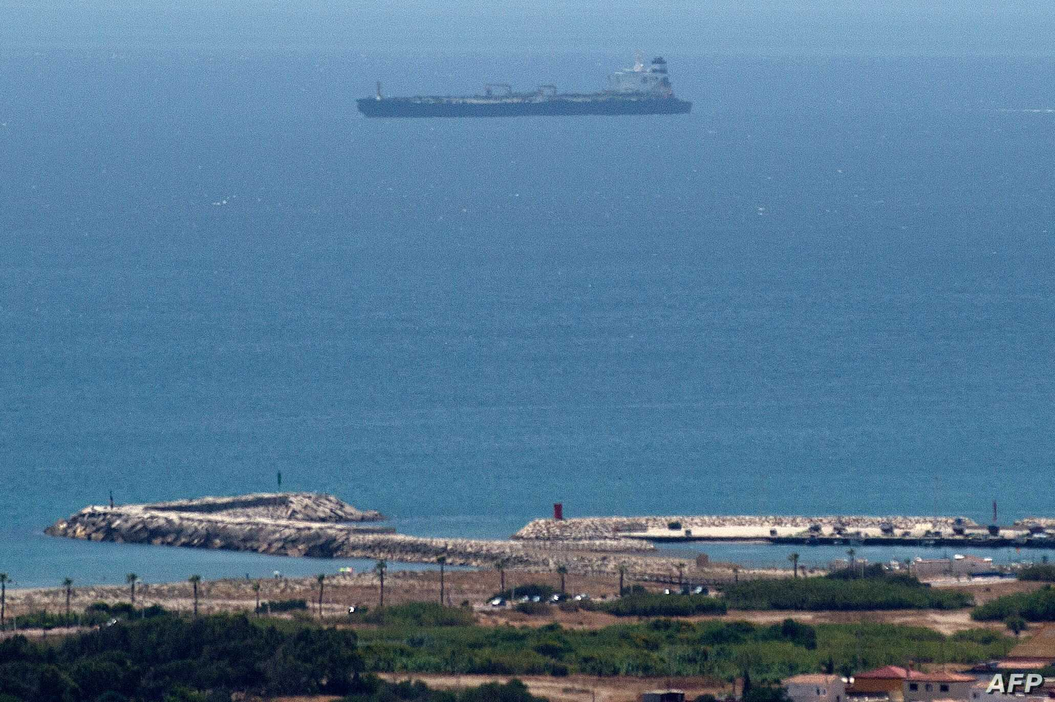 A picture taken from La Linea de la Concepcion in southern Spain shows supertanker Grace 1 suspected of carrying crude oil to Syria in violation of EU sanctions after it was detained in Gibraltar on July 4, 2019.   Authorities did not say where the…