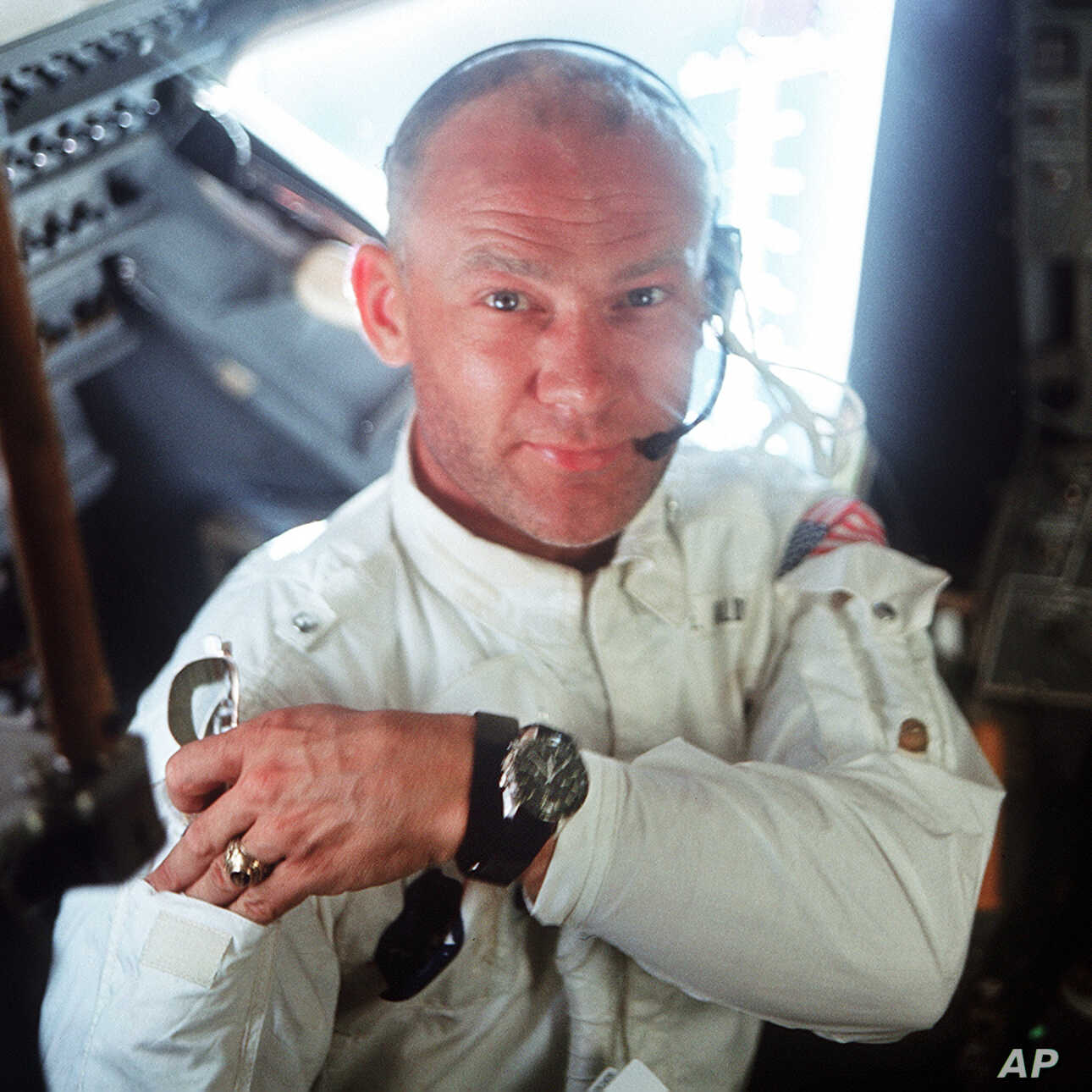 "This July 20, 1969 photo made available by NASA shows pilot Edwin ""Buzz"" Aldrin in the Apollo 11 Lunar Module. For the 50th anniversary of the landing, Omega issued a limited edition Speedmaster watch, a tribute to the one that Aldrin wore to the…"