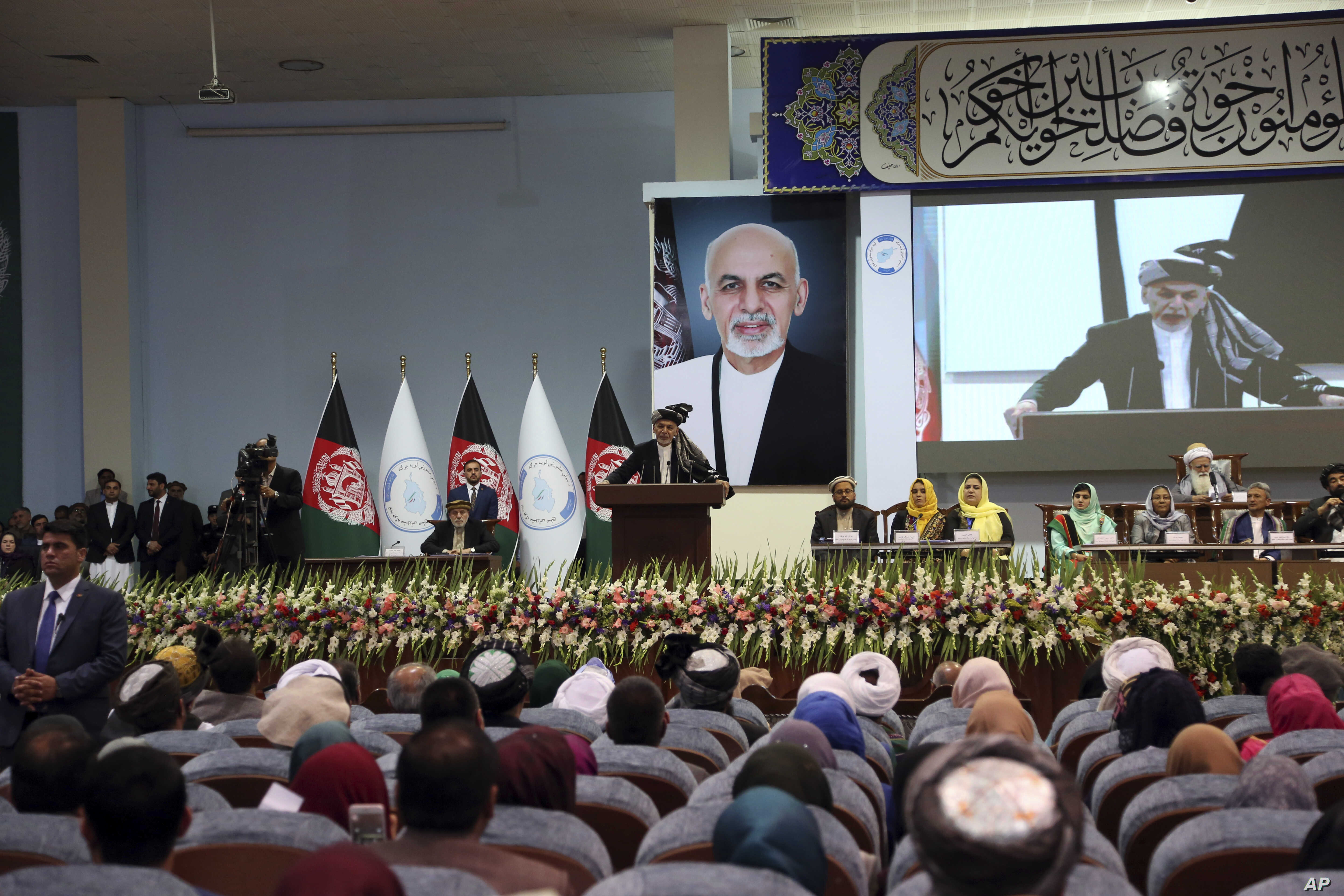 Afghan President Ashraf Ghani speaks on the last day of the Afghan Loya Jirga meeting in Kabul, Afghanistan, Friday, May 3, 2019. Ghani offers cease fire, says he will free 175 Taliban prisoners ahead of Ramadan, the Islamic holy month of Ramadan.