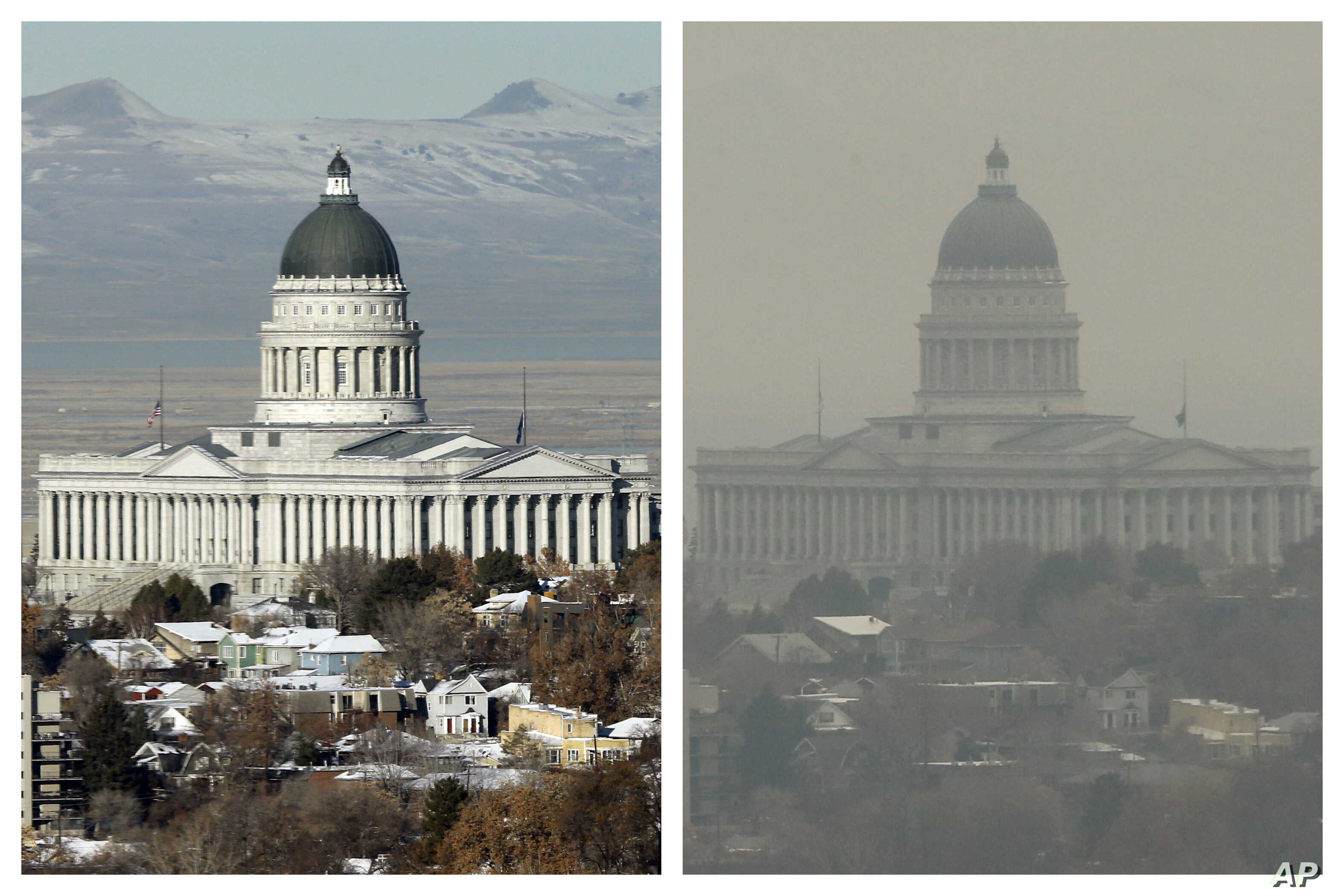FILE - This combination of Dec. 13 and 17, 2018 photos shows the Utah State Capitol during clear and an inversion day in Salt Lake City.