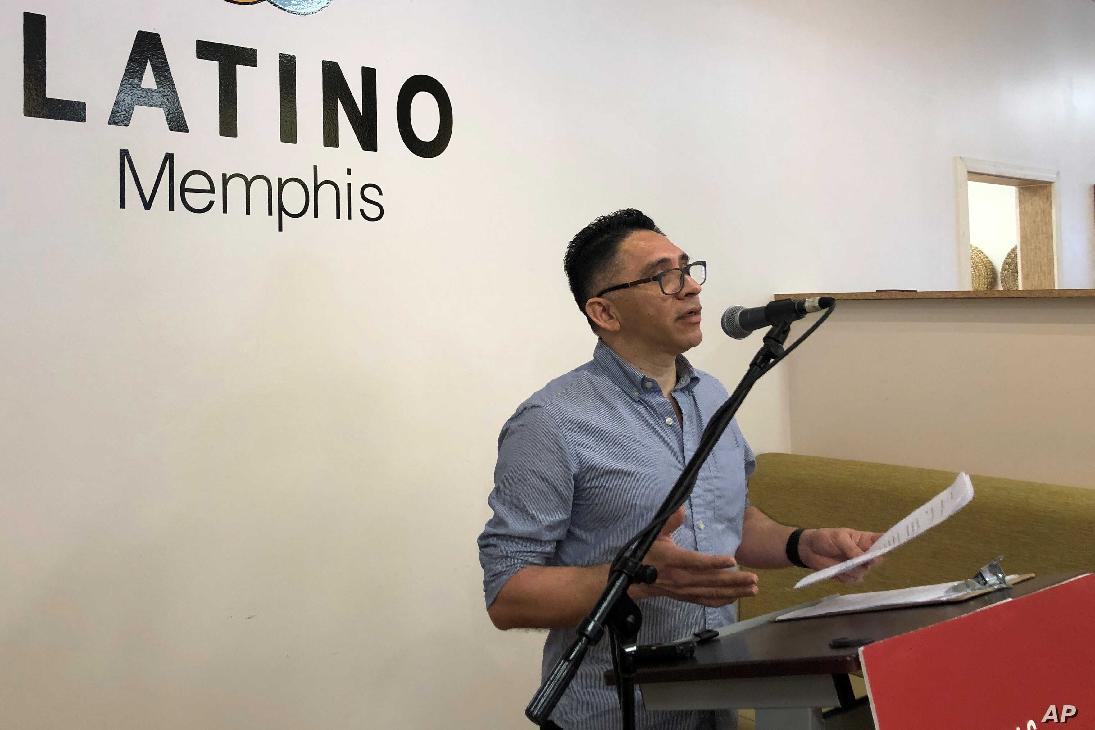 Spanish-language reporter Manuel Duran speaks during a news conference discussing the 15 months he spent at U.S. immigration detention facilities on Wednesday, July 17, 2019 in Memphis, Tenn. The native of El Salvador was released from immigration…