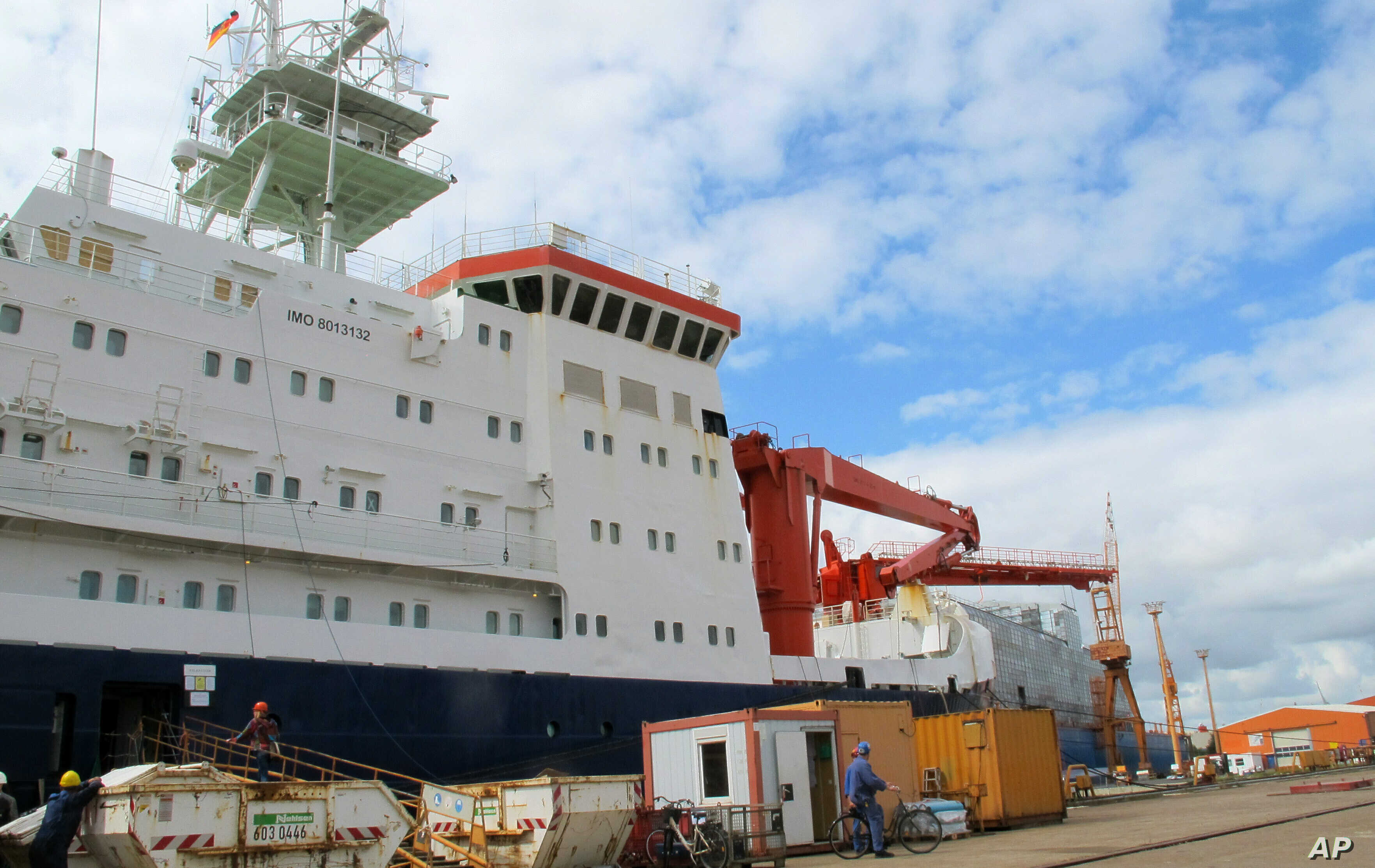 The German Arctic research vessel Polarstern is docked for maintenance in Bremerhaven, Germany, Wednesday, July 3, 2019. Scientists from 17 nations are preparing for a year-long mission to the central Arctic to study the impact that climate change…