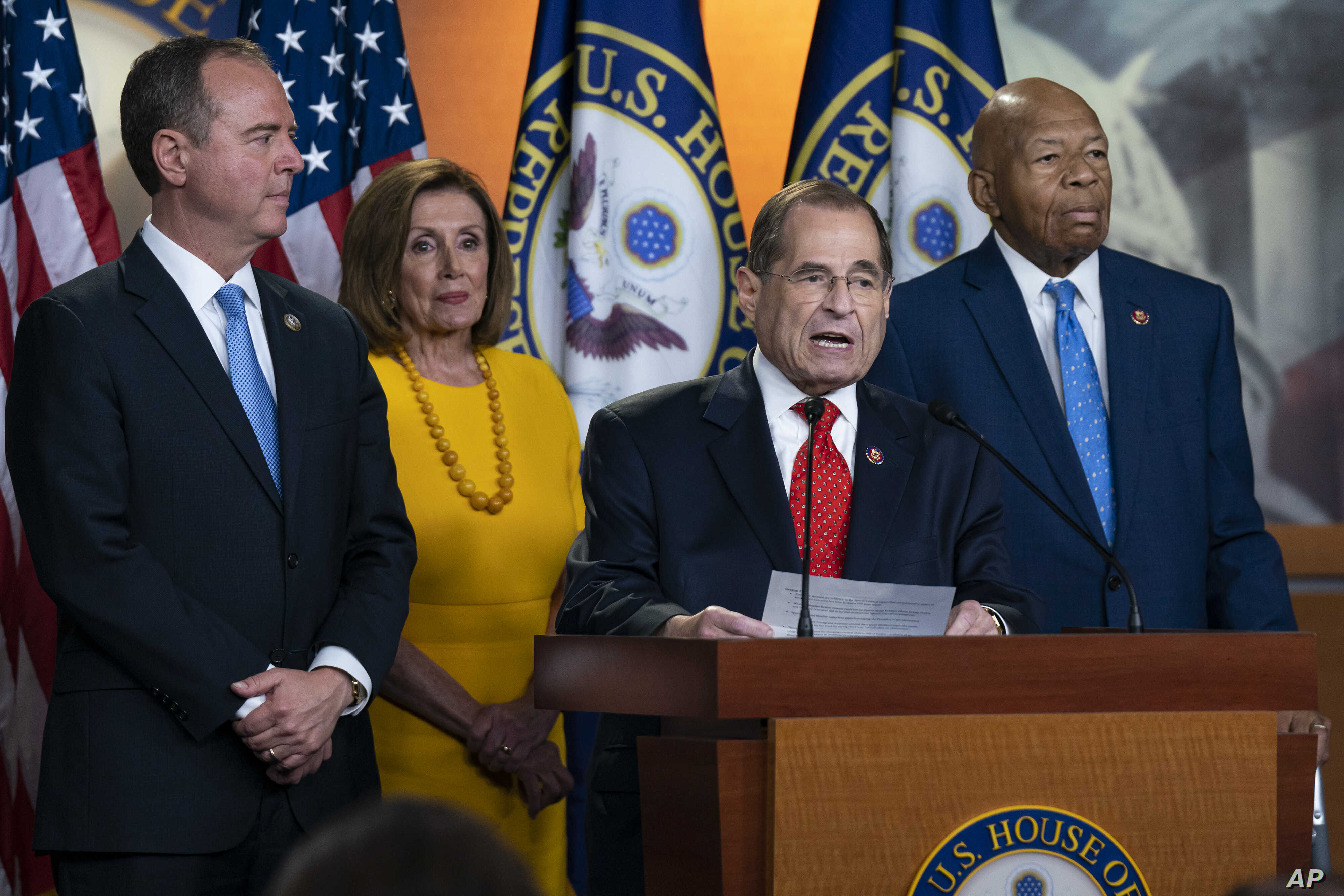 House Intelligence Committee Chairman Adam Schiff,  Speaker of the House Nancy Pelosi, House Judiciary Committee Chairman Jerrold Nadler, and House Oversight Committee Chairman Elijah Cummings after hearings with former special counsel Robert Mueller, July 24, 2019, in Washington.