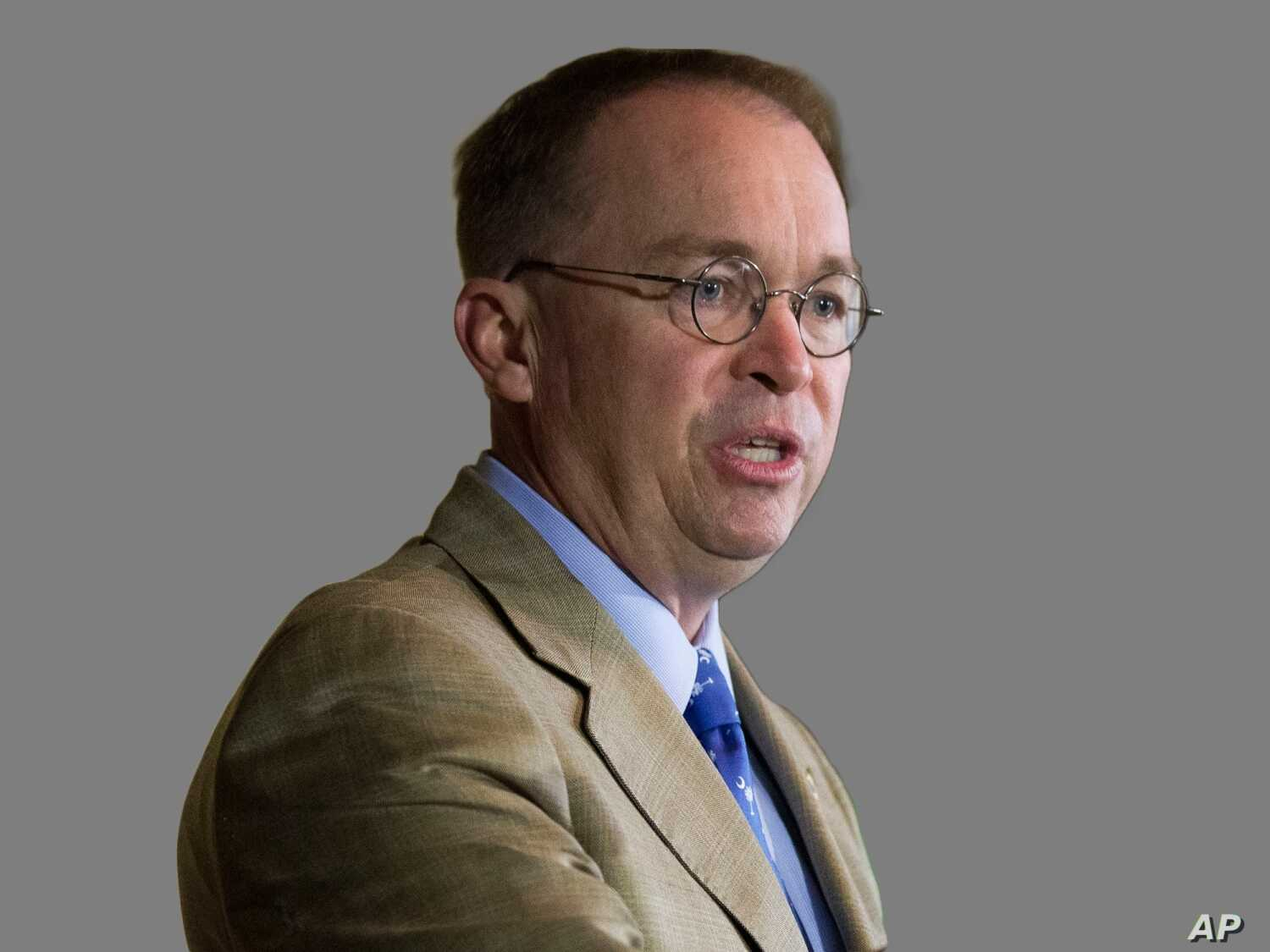 Mick Mulvaney, as Acting White House Chief of Staff,  graphic element on gray