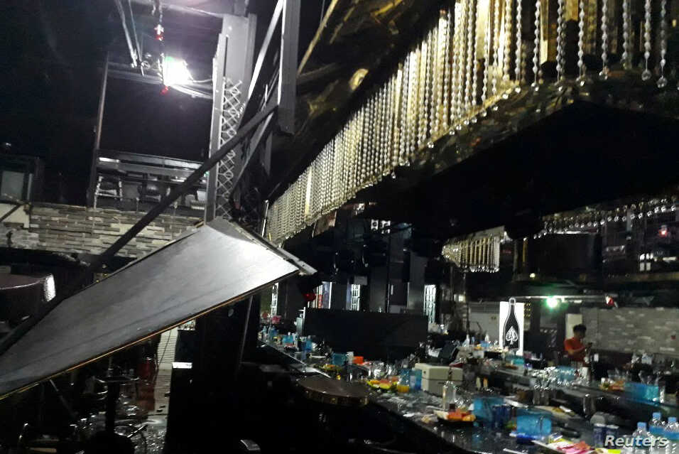 The collapsed structure of a nightclub where several athletes competing at the World Aquatics Championships were dancing is pictured in Gwangju, South Korea, July 27, 2019.