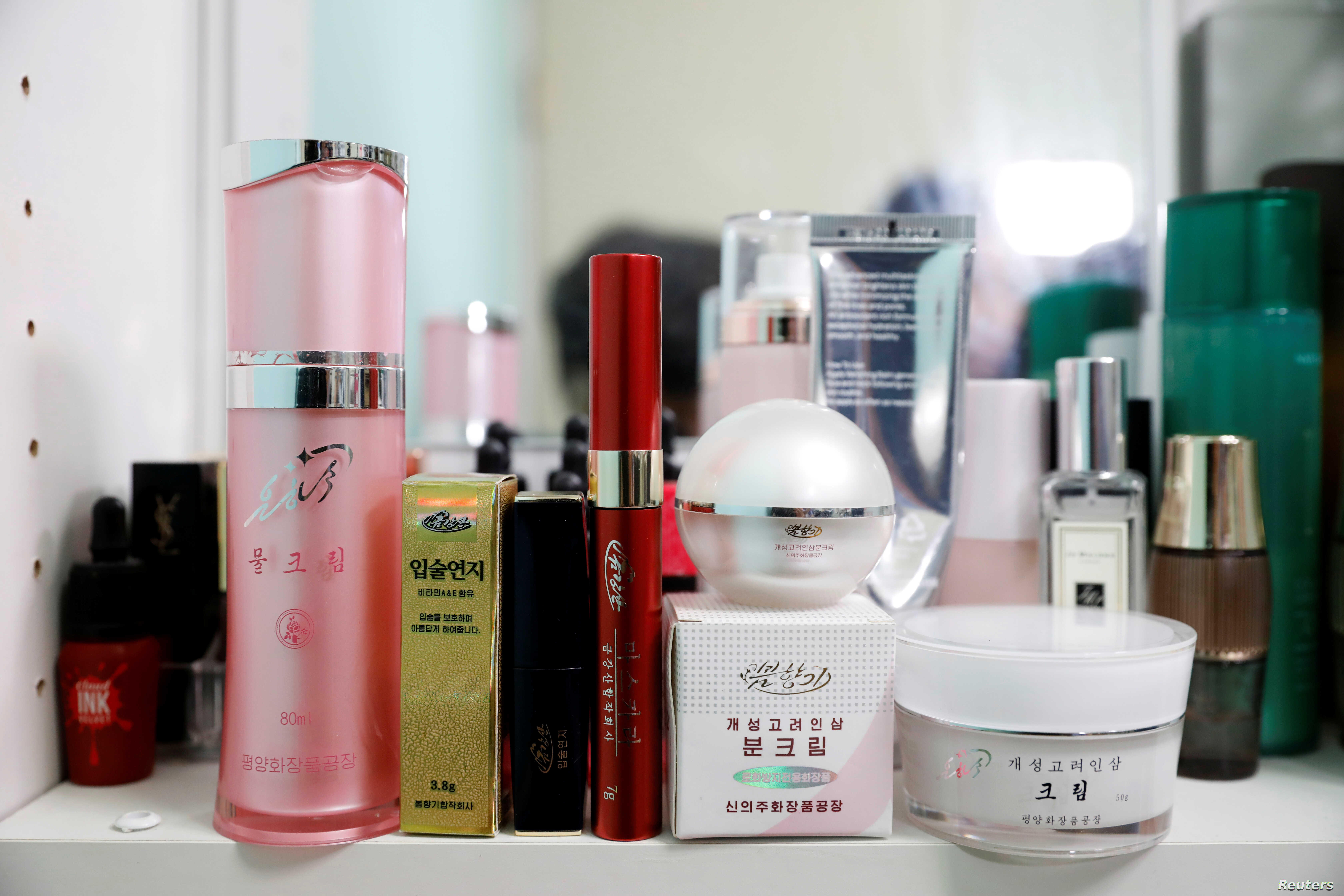 North Korean cosmetic products, front line, are seen on a dressing table in Seoul, South Korea, June 11, 2019.