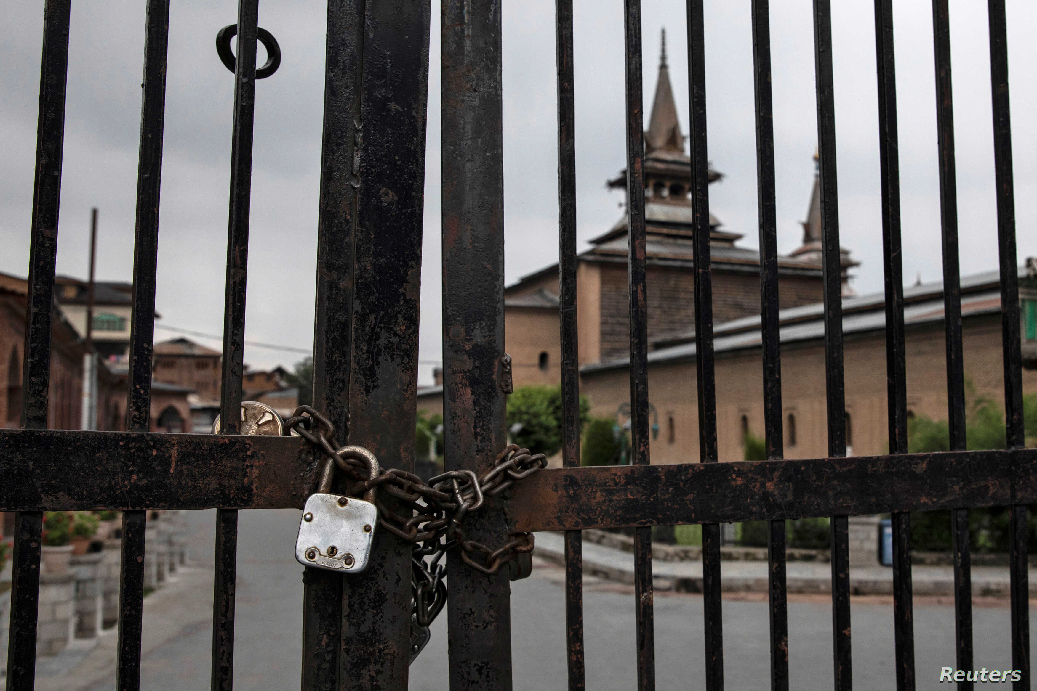 Jamia Masjid is locked during restrictions ahead of Eid-al-Adha after India scrapped the special constitutional status for Kashmir, in Srinagar, Aug. 11, 2019.