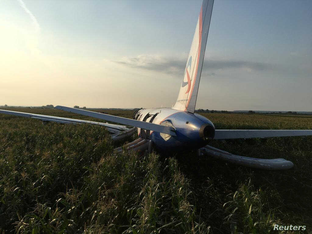 A view shows the Ural Airlines Airbus 321 passenger plane following an emergency landing in a field near Zhukovsky International Airport in Moscow Region, Russia August 15, 2019. REUTERS/Stringer NO RESALES. NO ARCHIVES.