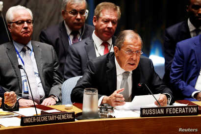 Russian Foreign Minister Sergei Lavrov speaks during a meeting of the United Nations Security Council to address the situation in the Middle East during the 71st session of the U.N. General Assembly at U.N. headquarters in New York, U.S., Sept. 21, 2...
