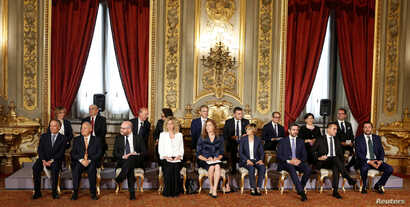Newly-appointed Ministers sit during the swearing-in ceremony at the Quirinal palace in Rome, Italy, June 1, 2018.