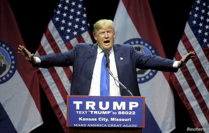 U.S. Republican presidential candidate Donald Trump speaks during a campaign rally at the downtown Midland Theater in Kansas City, Mo., March 12, 2016.