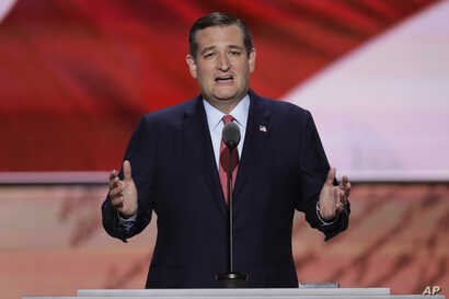 Sen. Ted Cruz, R-Tex., speaks during the third day of the Republican National Convention in Cleveland, July 20, 2016.