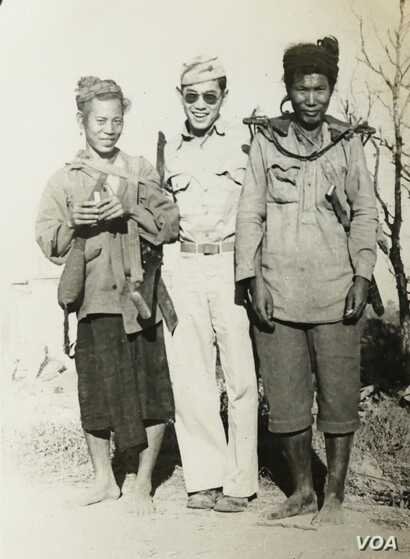 Ted Tsukiyama when he served in the Military Intelligence Service. He's pictured with Kachin tribespeople who were US allies in Burma during WWII. (Photo: T.Tsukiyama)
