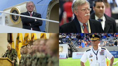 President Donald Trump is interviewing at least four potential candidates to serve as his new national security adviser, including, clockwise from top left, retired Army Lt. Gen. Keith Kellogg; a former U.S. ambassador to the United Nations, John Bol